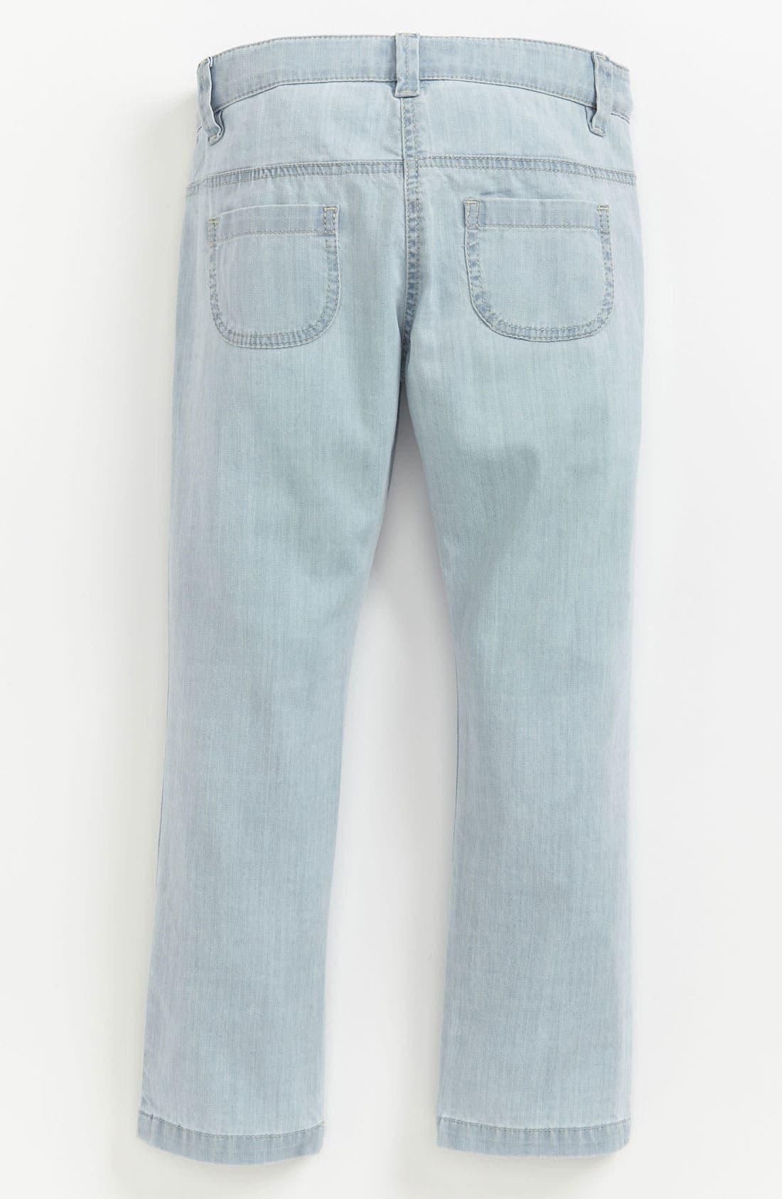 Alternate Image 1 Selected - Chloé Bleached Denim Pants (Toddler, Little Girls & Big Girls)