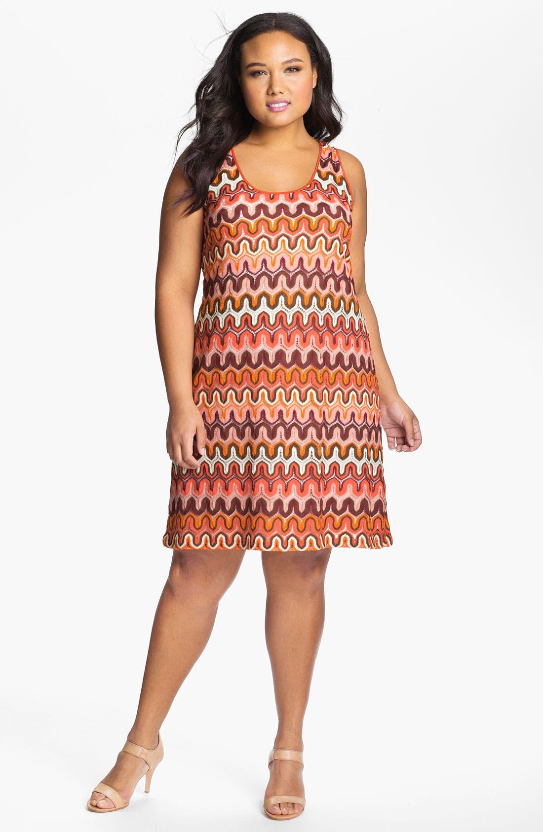 Alternate Image 1 Selected - Karen Kane Crochet Tank Dress (Plus Size) (Online Only)