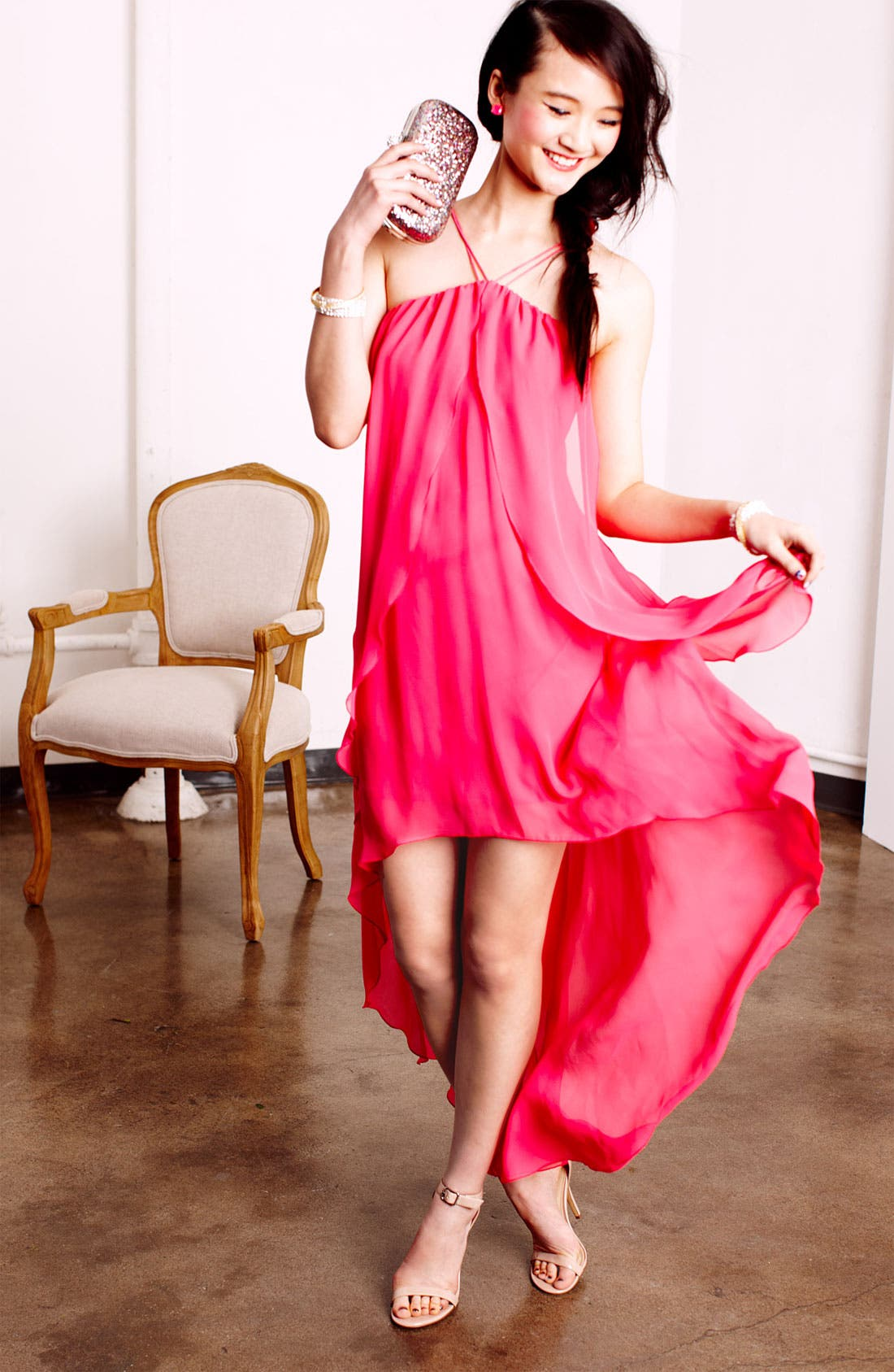 Alternate Image 2  - Hailey by Adrianna Papell High/Low Chiffon Dress (Online Only)