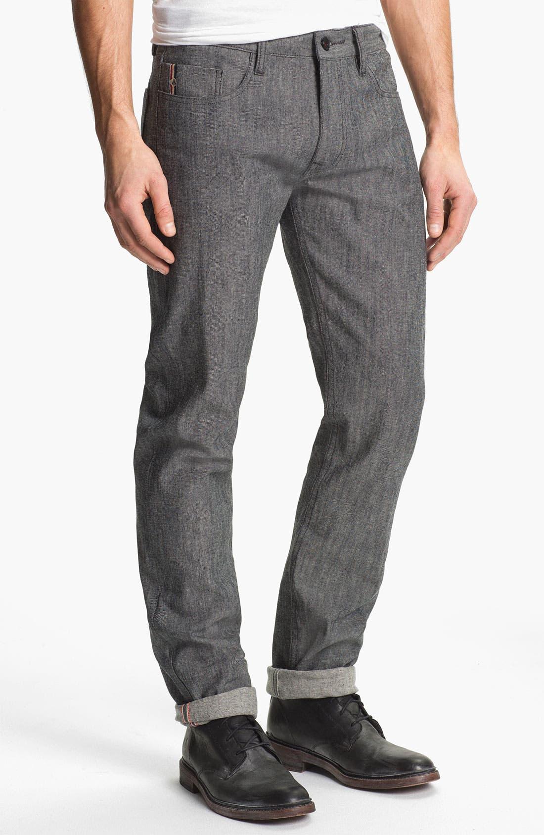 Alternate Image 2  - Denim & Leathers by Andrew Marc Tweed Slim Straight Leg Selvedge Jeans (Grey)
