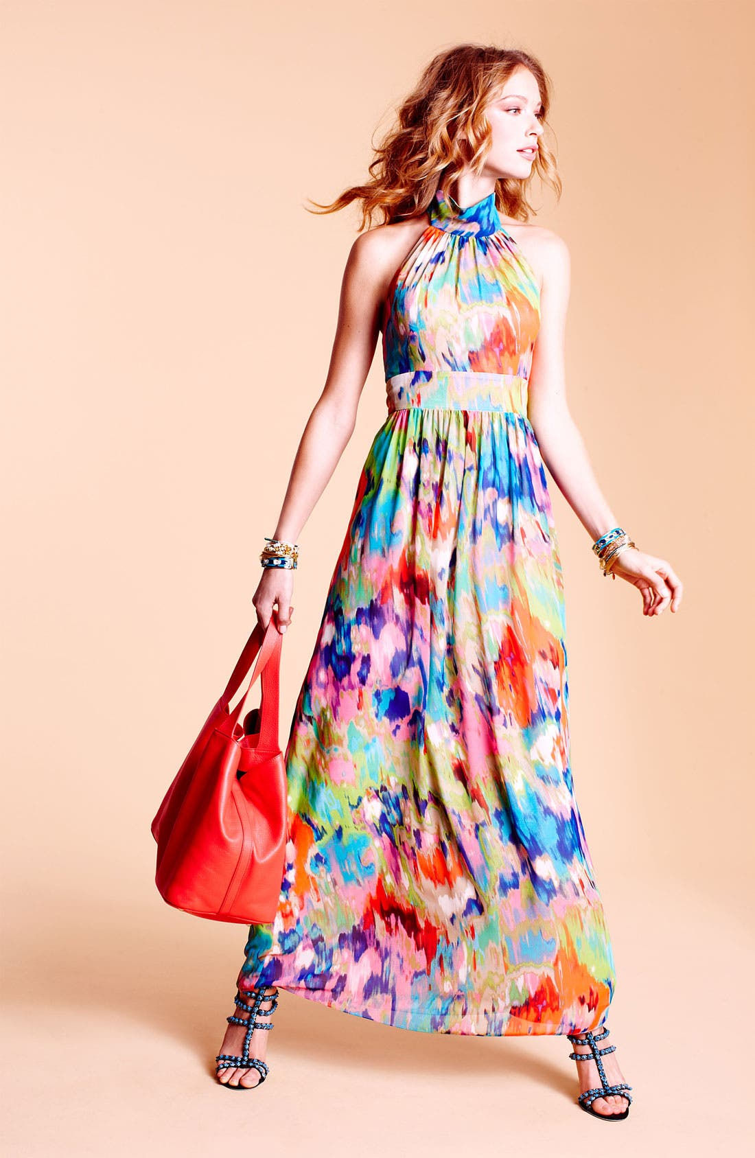 Alternate Image 3  - Eliza J Halter Print Chiffon Maxi Dress