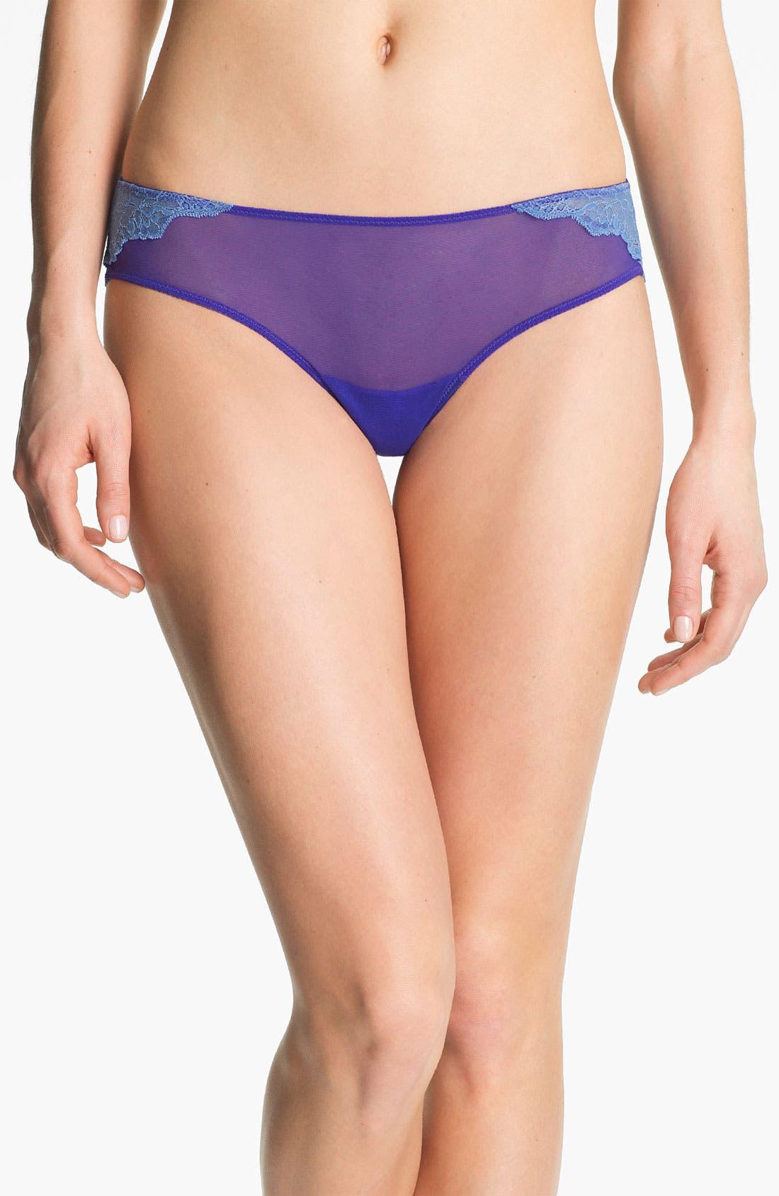 Alternate Image 1 Selected - On Gossamer 'Veiled Lace' Thong