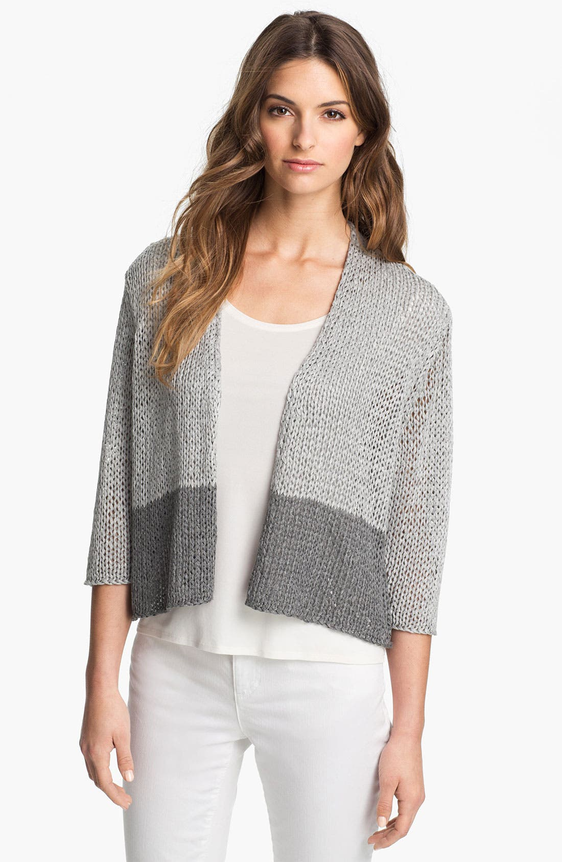 Alternate Image 1 Selected - Eileen Fisher Open Stitch Cardigan (Petite)