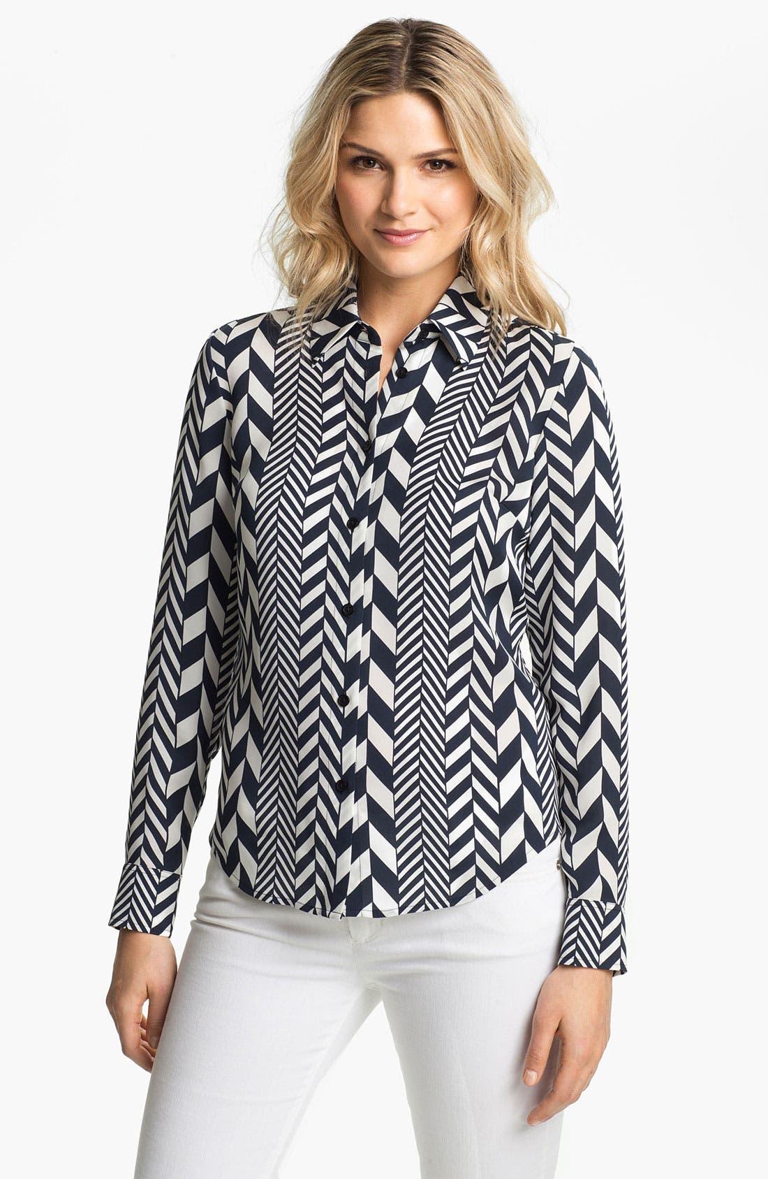 Alternate Image 1 Selected - MICHAEL Michael Kors 'League Stripe' Shirt (Regular & Petite)