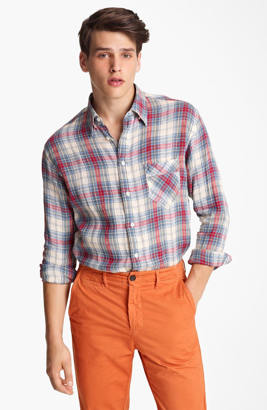 Alternate Image 1 Selected - Billy Reid 'Walland' Plaid Linen Shirt