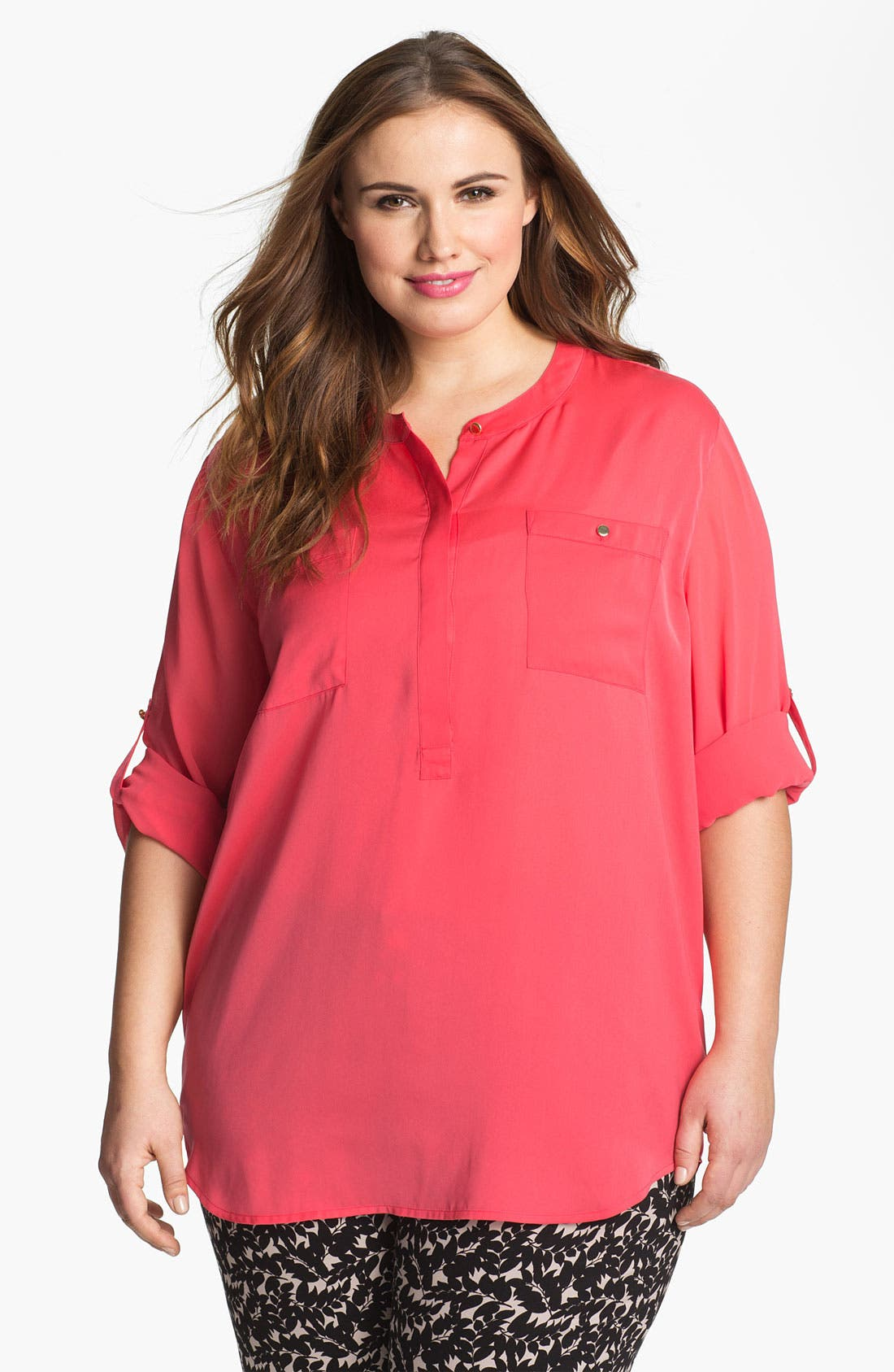 Main Image - DKNYC Rolled Sleeve Sheer Blouse (Plus Size)