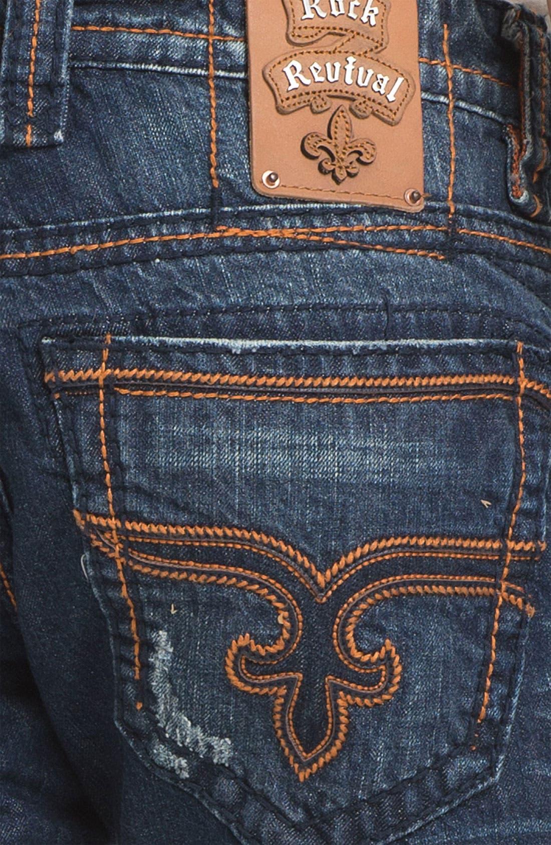 Alternate Image 4  - Rock Revival 'Ewan Alternative' Straight Leg Jeans (Dark Blue)