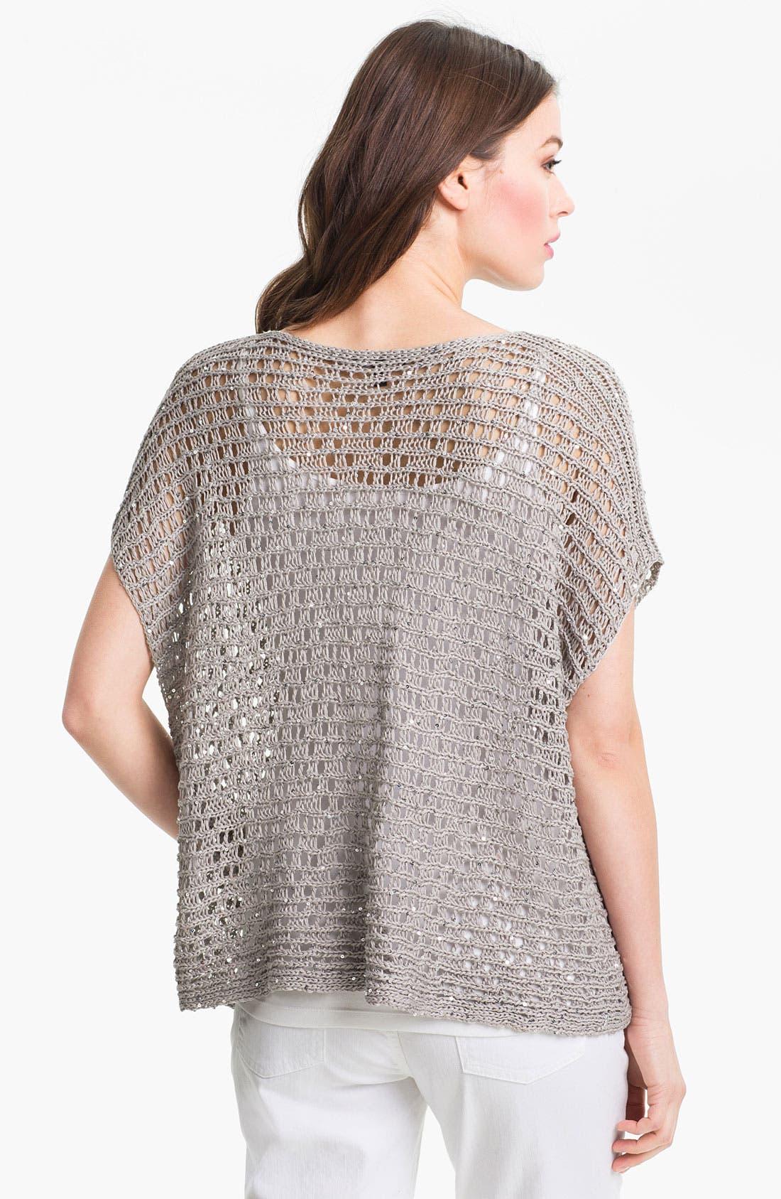 Alternate Image 2  - Eileen Fisher Sequin Open Stitch Sweater