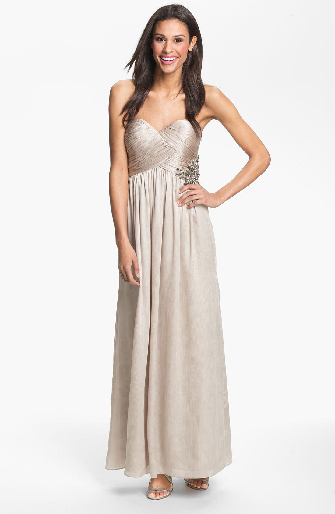 Main Image - Calvin Klein V-Neck Textured Metallic Jersey Gown