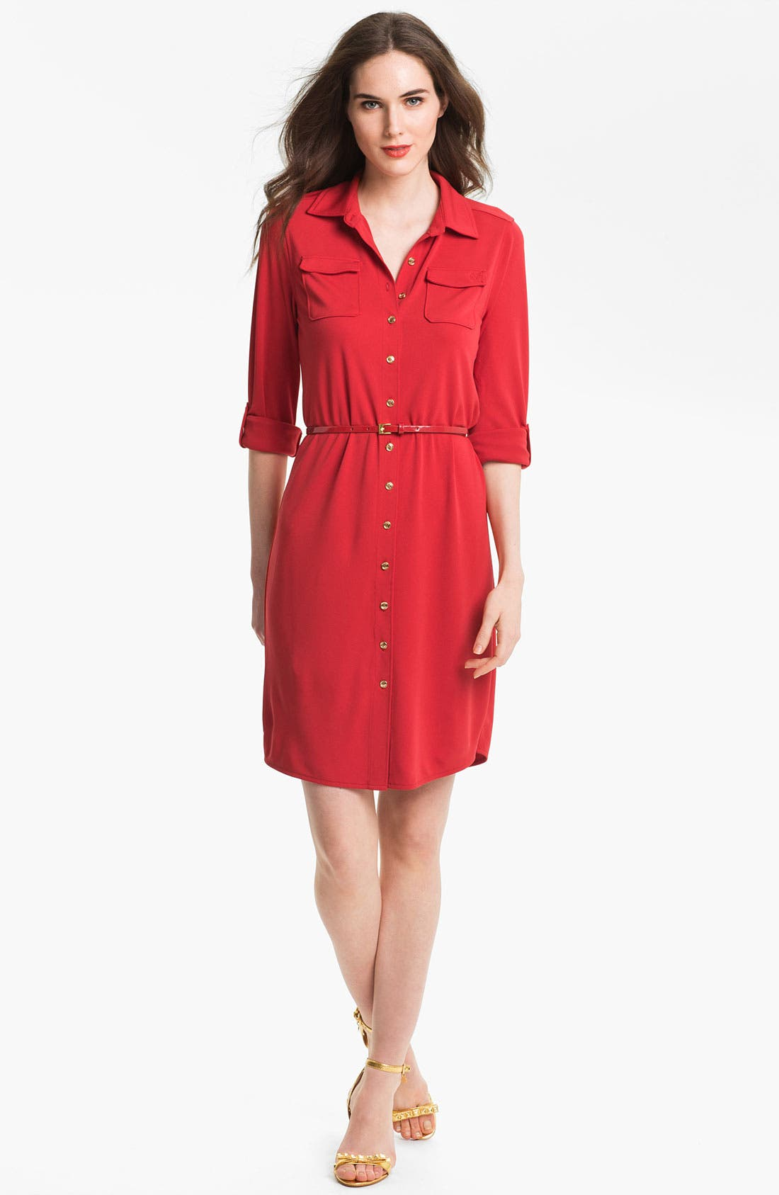 Alternate Image 1 Selected - Anne Klein 'Leo' Roll Sleeve Shirtdress