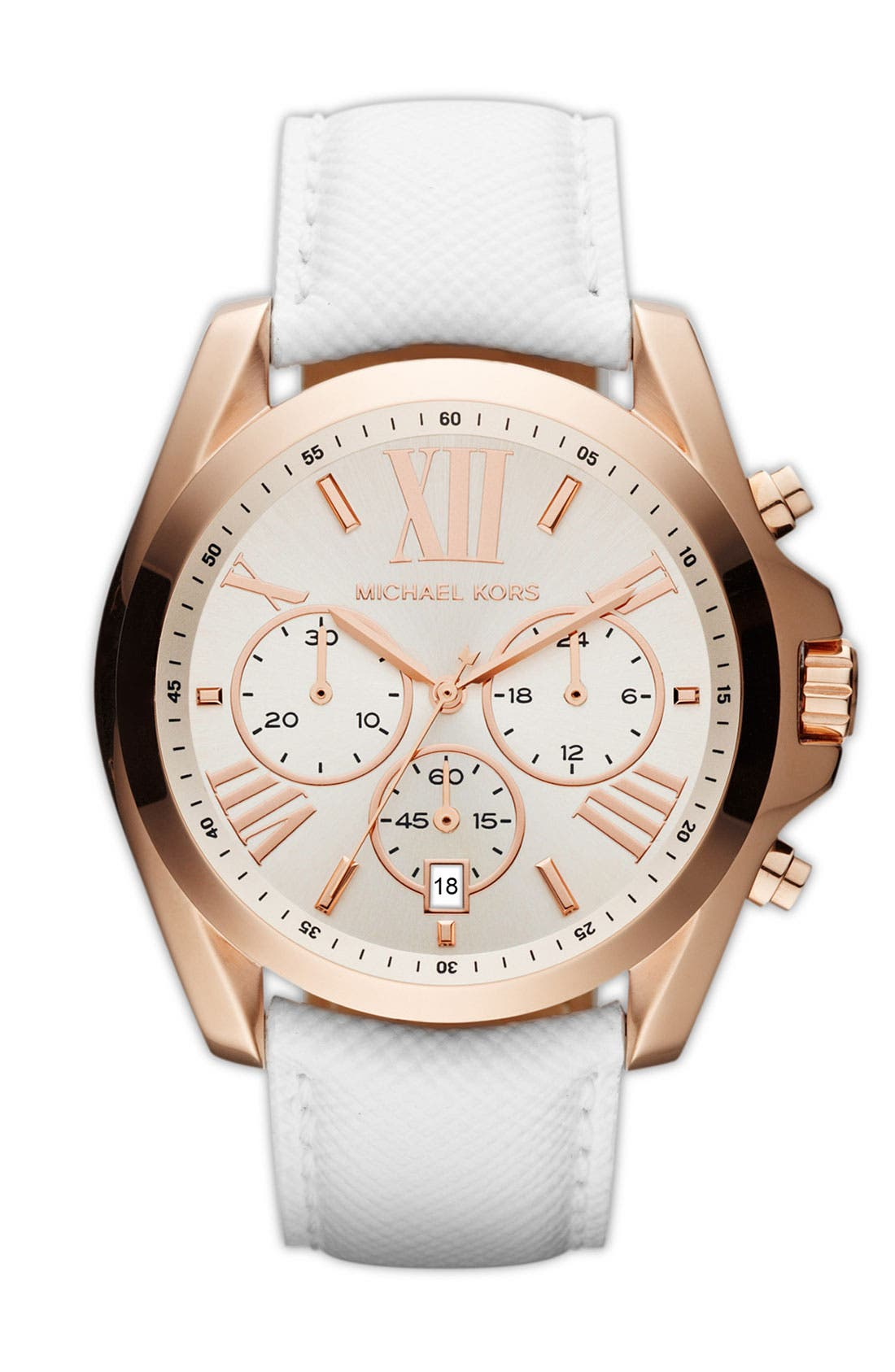Main Image - Michael Kors 'Bradshaw' Leather Strap Watch