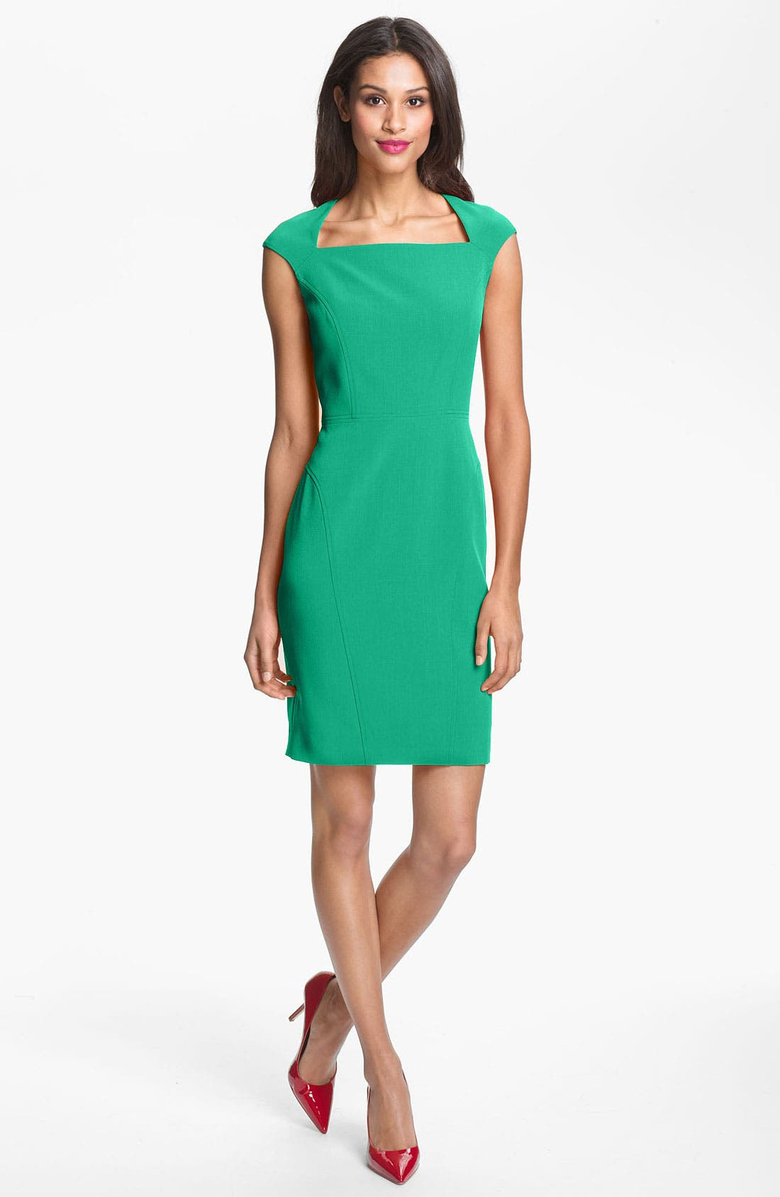 Main Image - Adrianna Papell Seamed Crepe Sheath Dress
