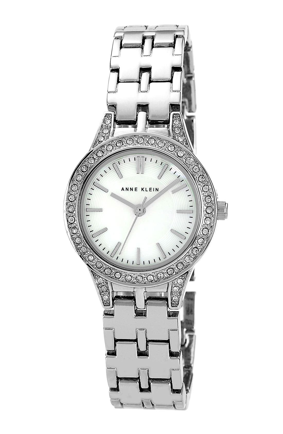Main Image - SMALL ROUND BRACELET WATCH W/ CRYSTAL BEZEL