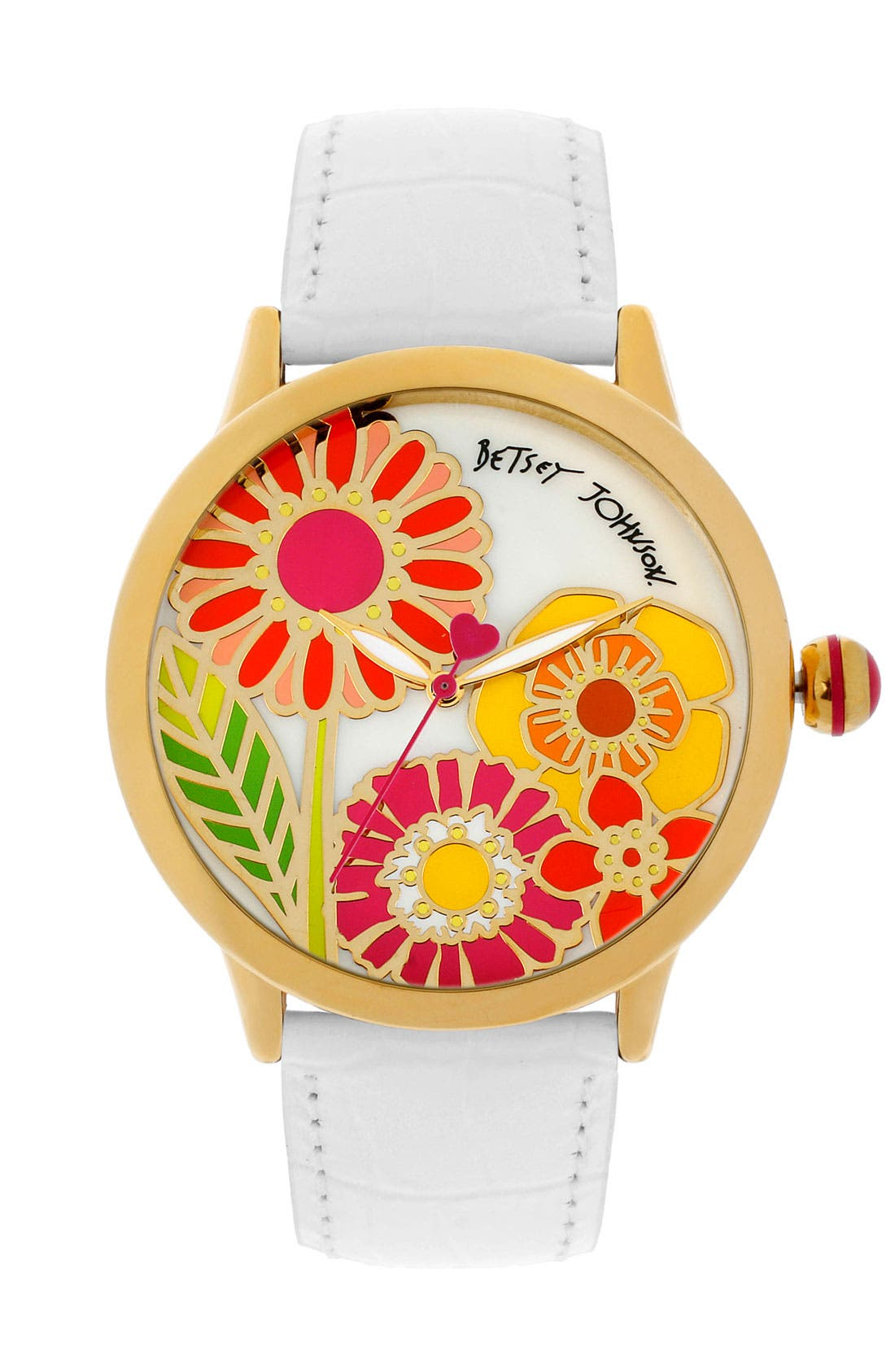 Alternate Image 1 Selected - Betsey Johnson Flower Dial Leather Strap Watch