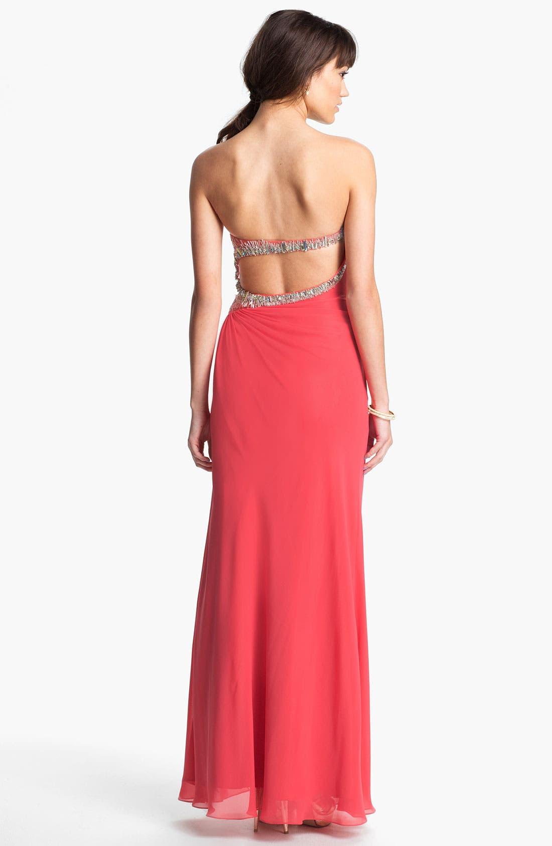Alternate Image 2  - Faviana Embellished Strapless Chiffon Gown