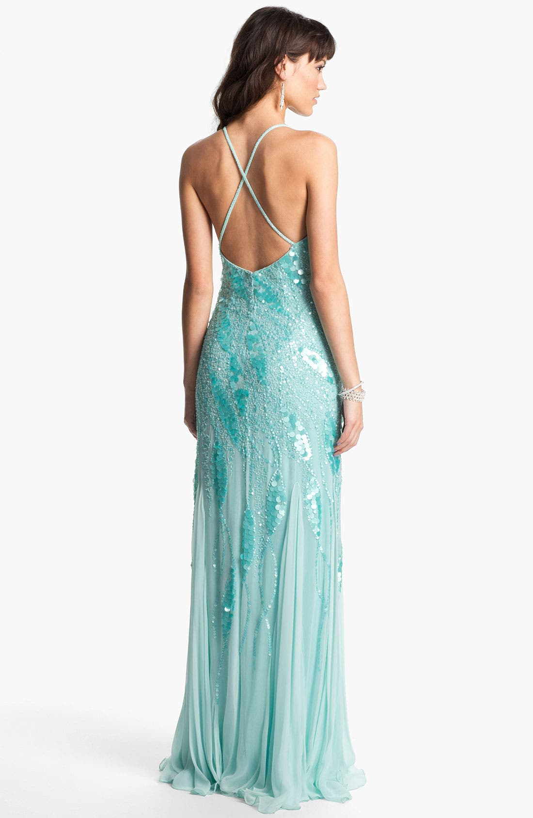 Alternate Image 2  - Faviana Embellished Chiffon Gown (Online Only)