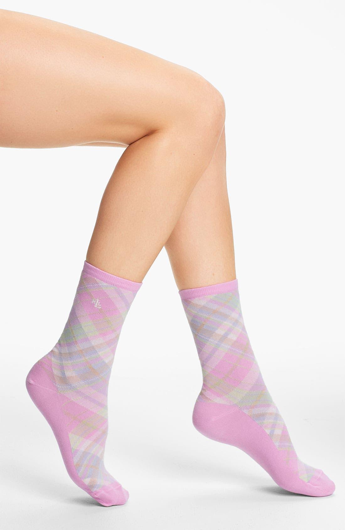 Alternate Image 1 Selected - Ralph Lauren Plaid Crew Socks