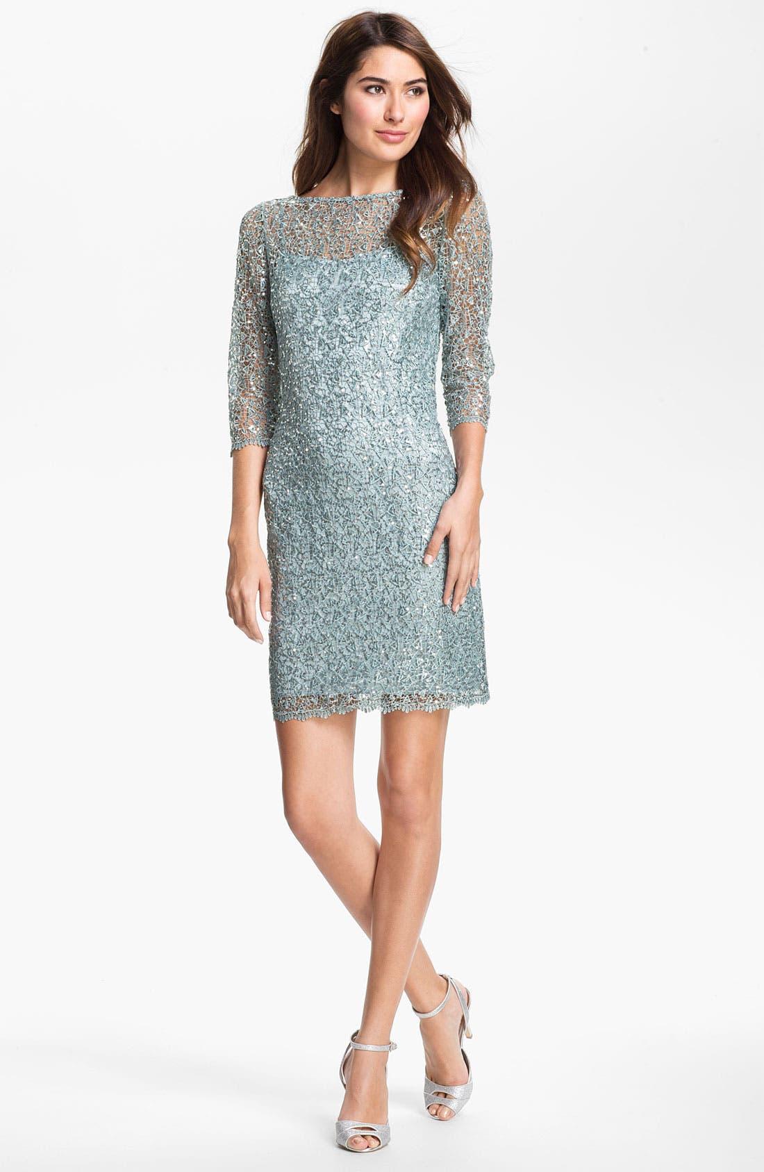 Main Image - Kay Unger Metallic Lace Sheath Dress
