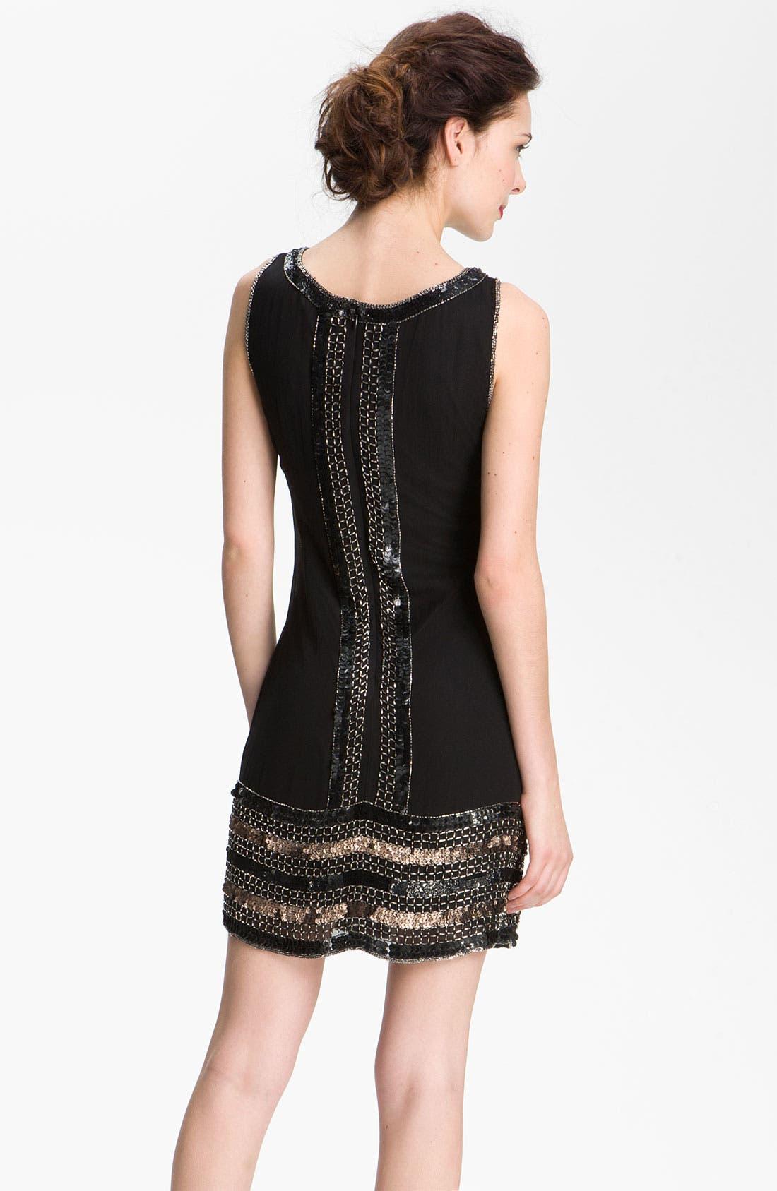 Alternate Image 2  - Adrianna Papell Embellished Silk Chiffon Shift Dress (Petite)