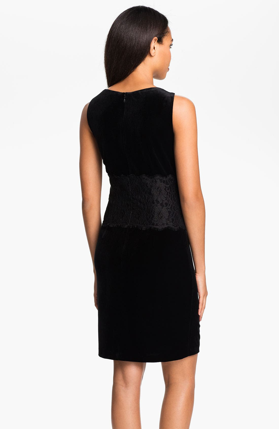 Alternate Image 2  - Donna Morgan Lace Inset Velour Sheath Dress (Petite)