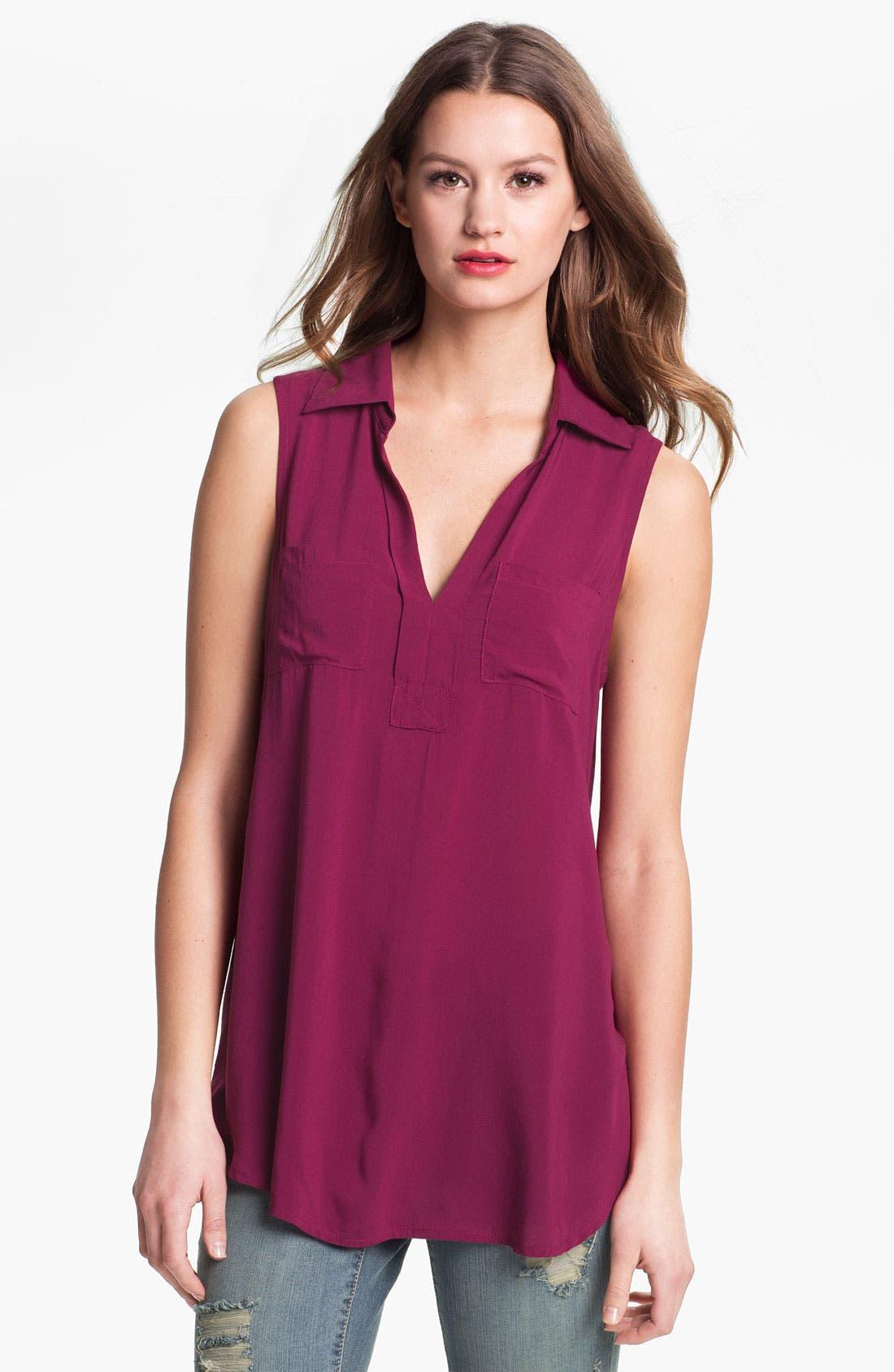 Main Image - MOD.lusive Mixed Media Sleeveless Shirt