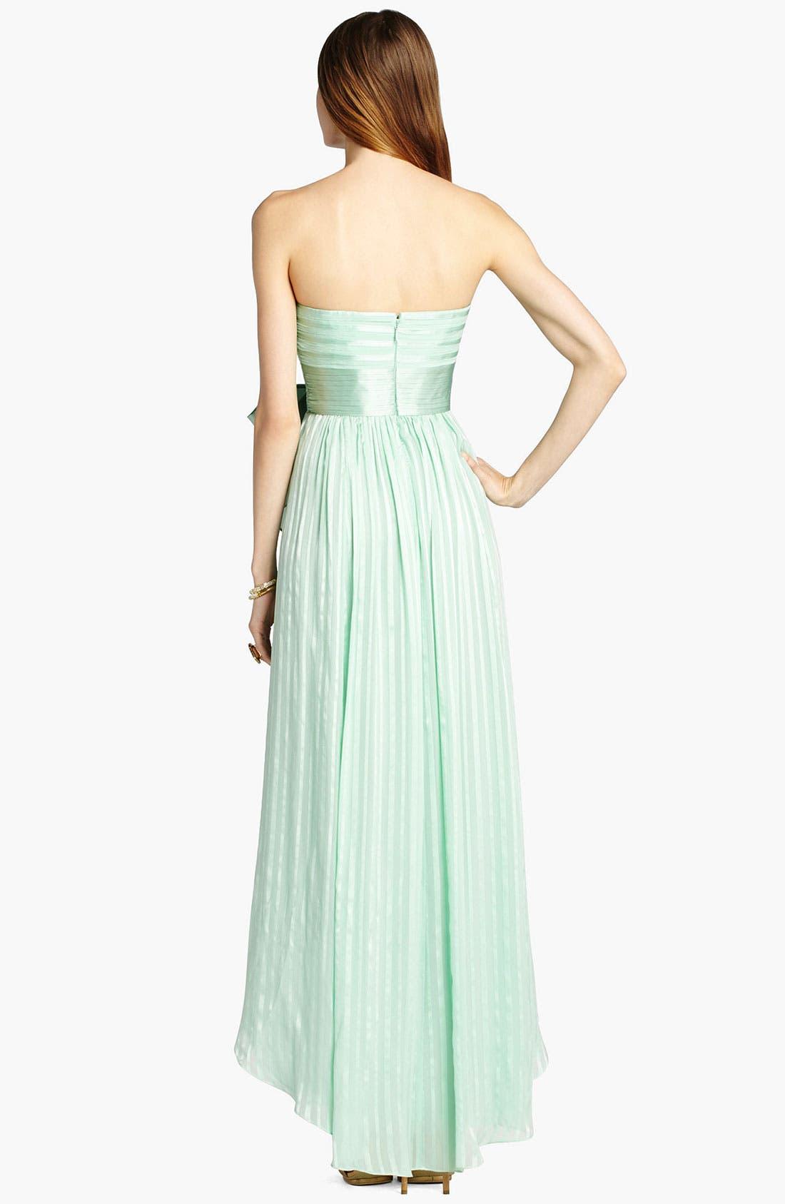 Alternate Image 2  - BCBGMAXAZRIA Crinkled High/Low Silk Gown