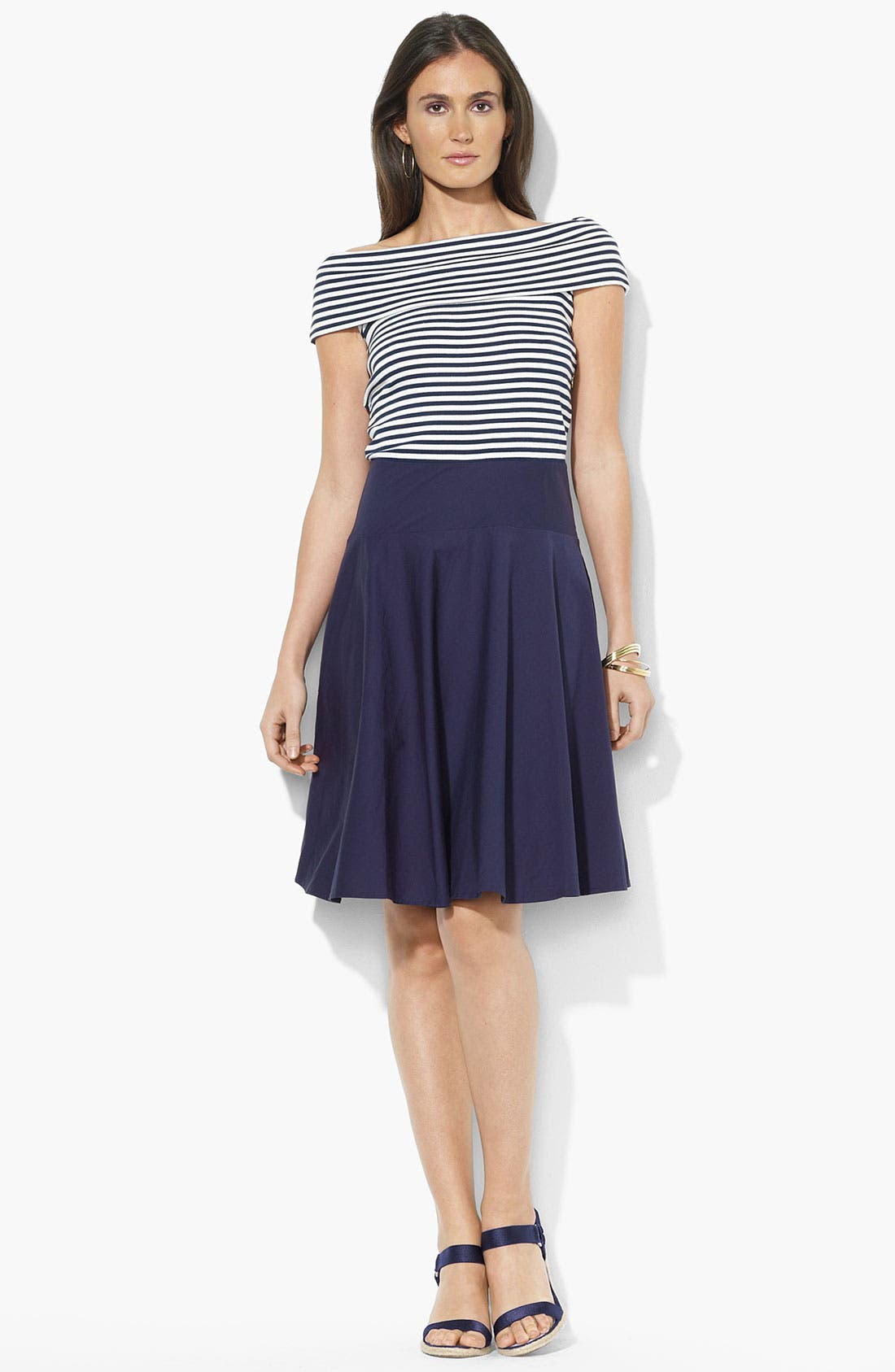 Main Image - Lauren Ralph Lauren Bateau Neck Woven Skirt Dress (Petite)
