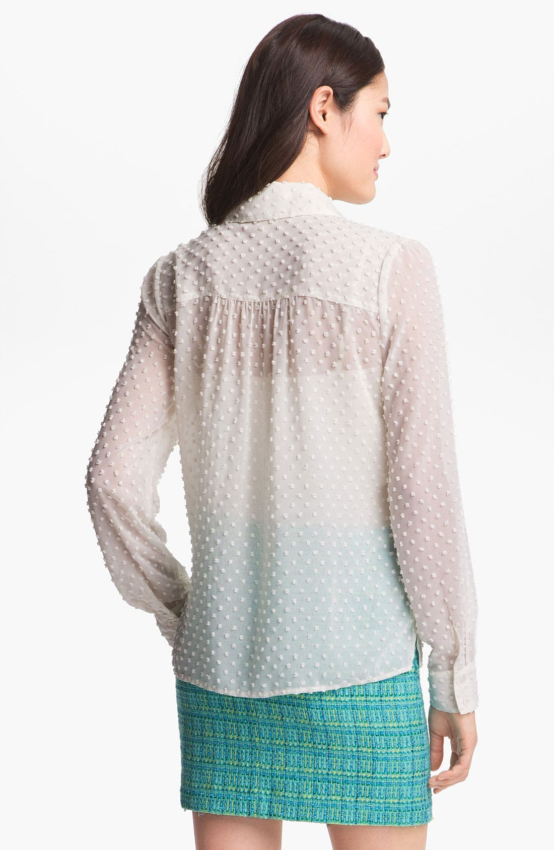 Alternate Image 3  - Vince Camuto Swiss Dot Henley Shirt with Camisole