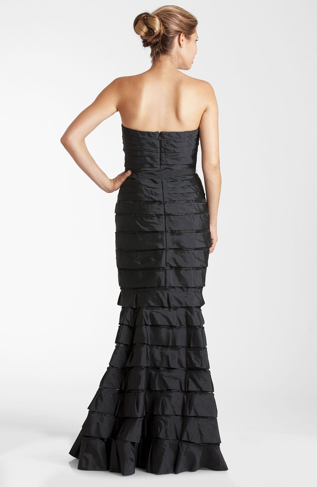 Alternate Image 2  - JS Collections Strapless Tiered Taffeta Trumpet Gown (Petite)