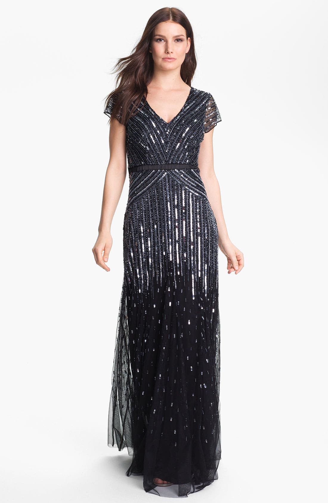 Alternate Image 1  - Adrianna Papell Sequin Mesh Gown