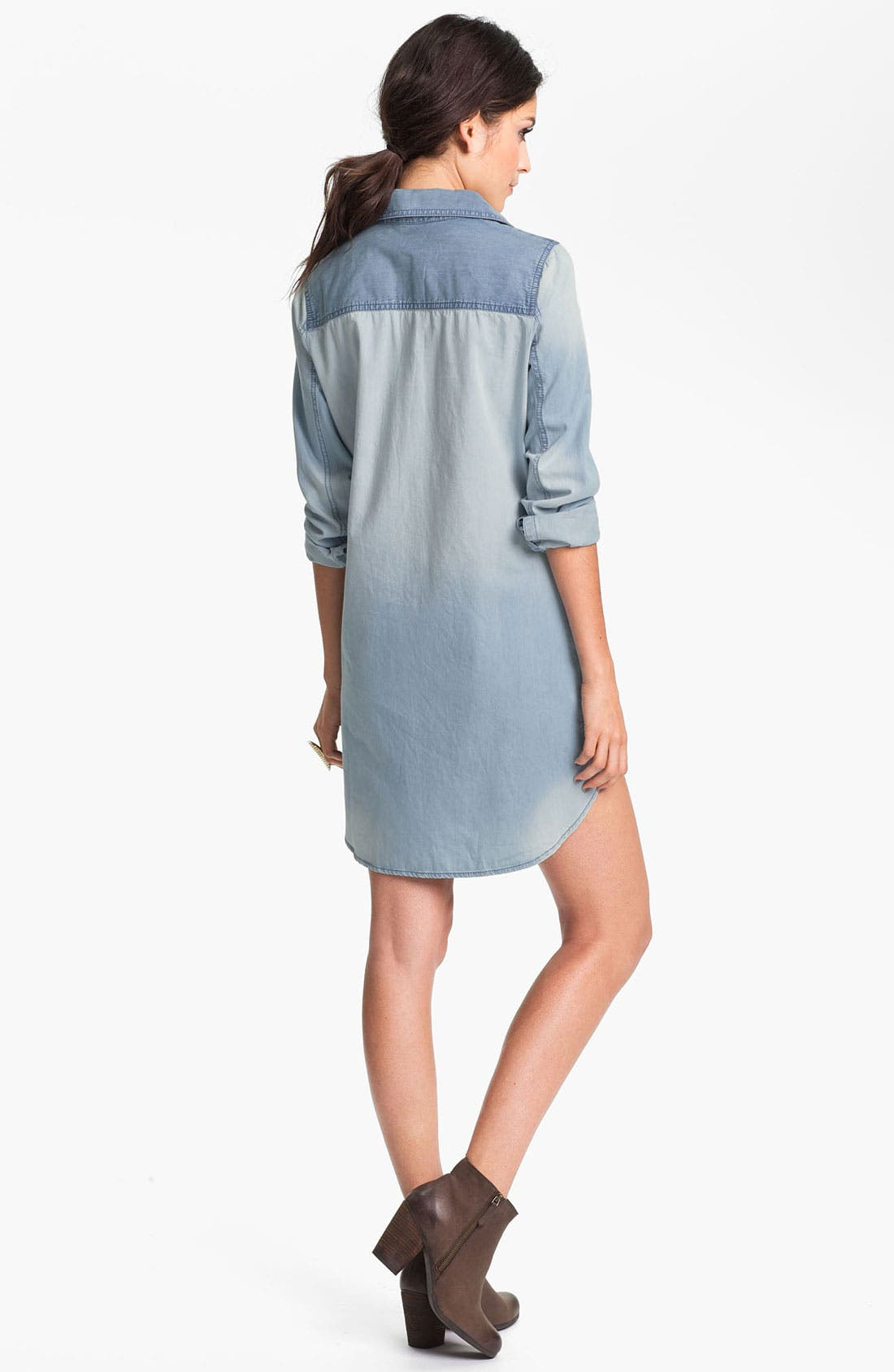 Alternate Image 2  - Rubbish® Oversized Denim Shirtdress (Juniors)