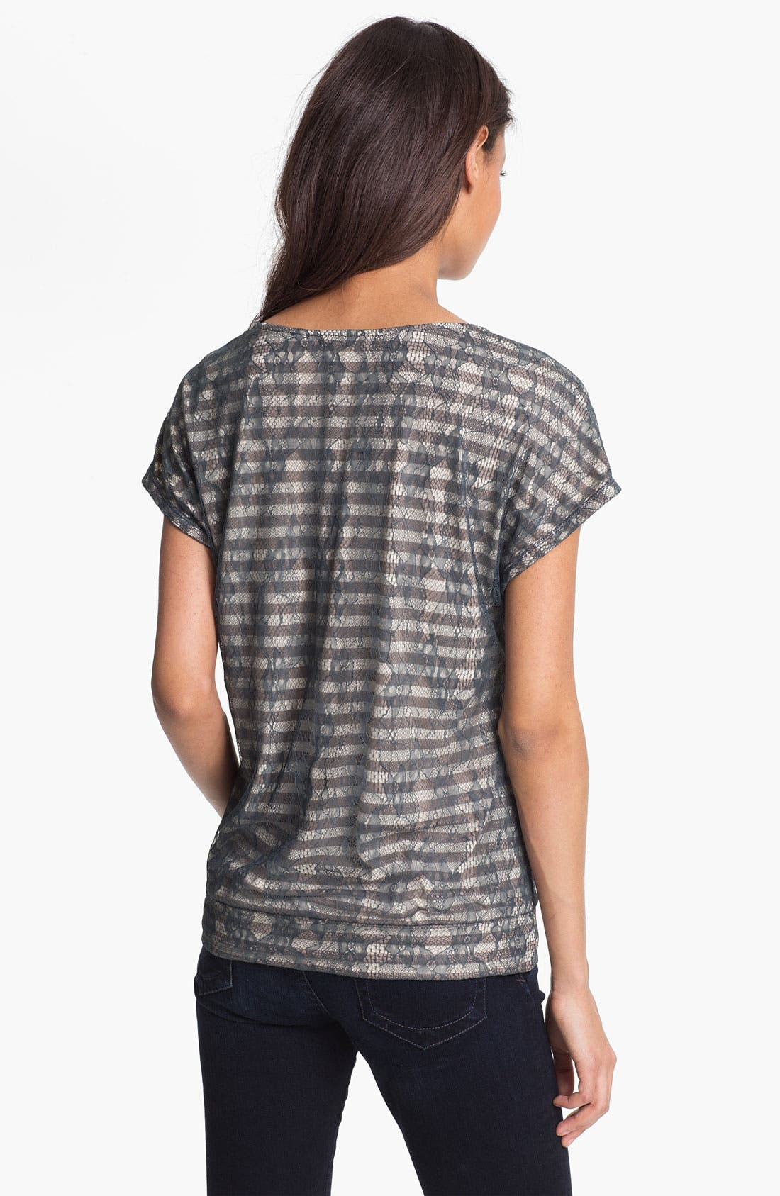 Alternate Image 2  - Pleione Lace Overlay Stripe Tee