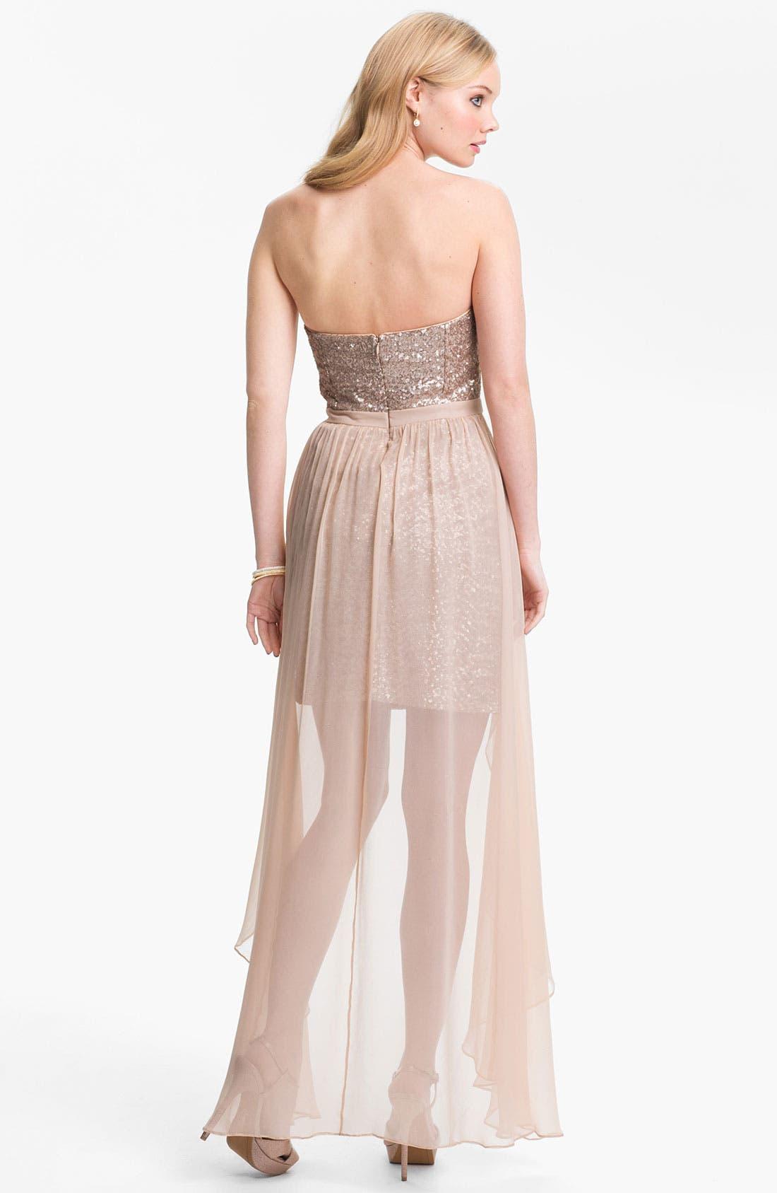 Alternate Image 2  - Aidan Mattox Chiffon Overlay Sequin Dress (Online Only)