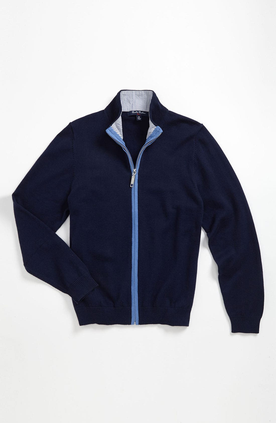 Main Image - Brooks Brothers 'Anchor' Full Zip Sweater (Big Boys)