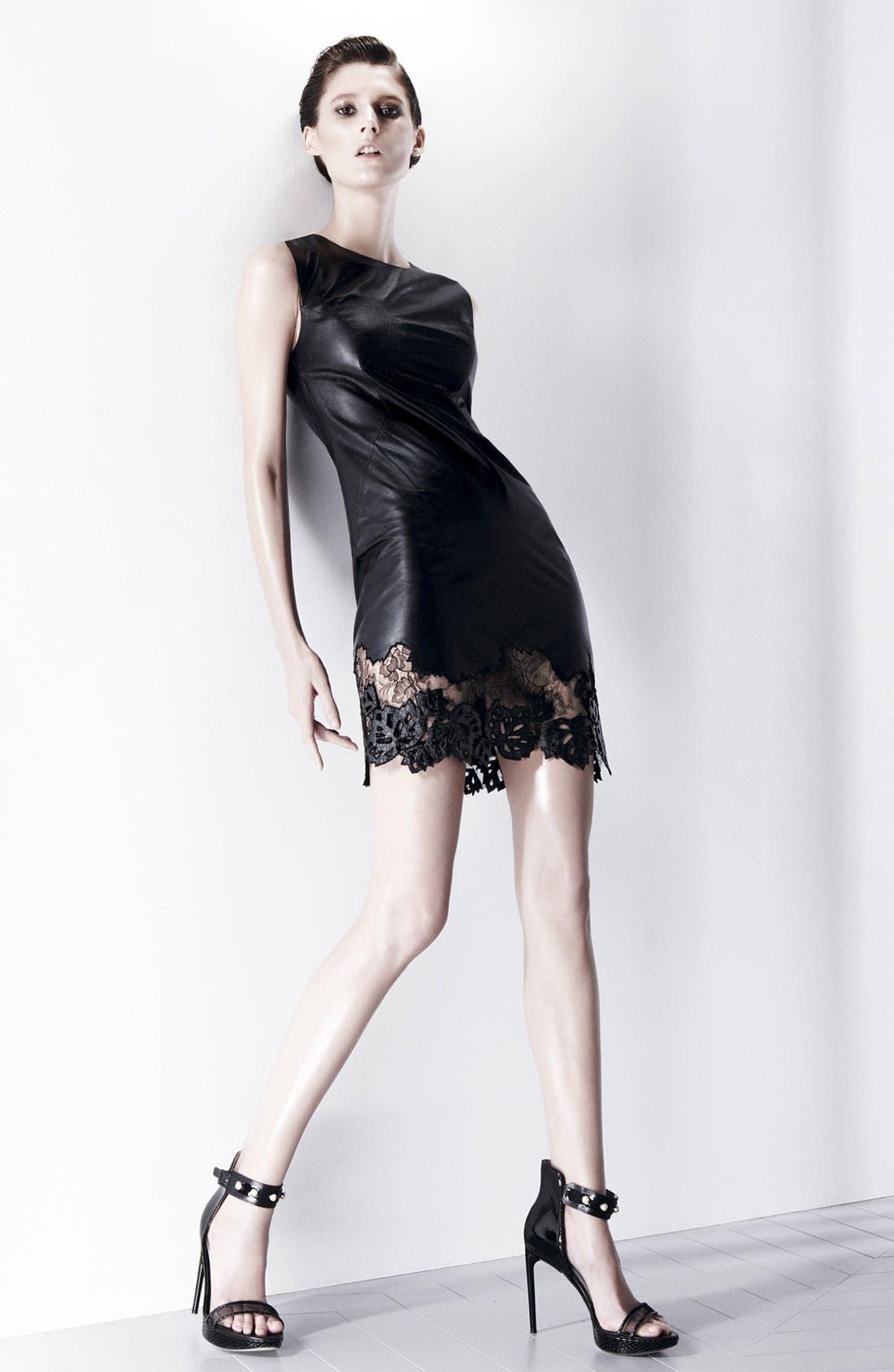 Alternate Image 4  - Jason Wu Lambskin Leather & Lace Sheath Dress