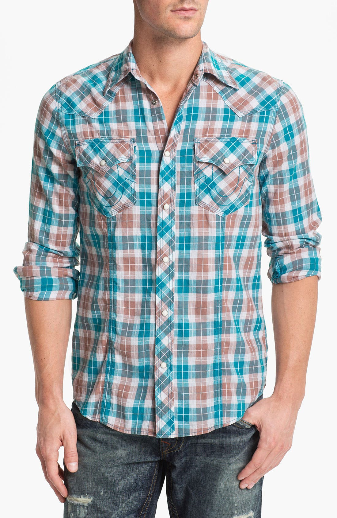 Alternate Image 1 Selected - True Religion Brand Jeans 'Rocky' Plaid Poplin Western Shirt