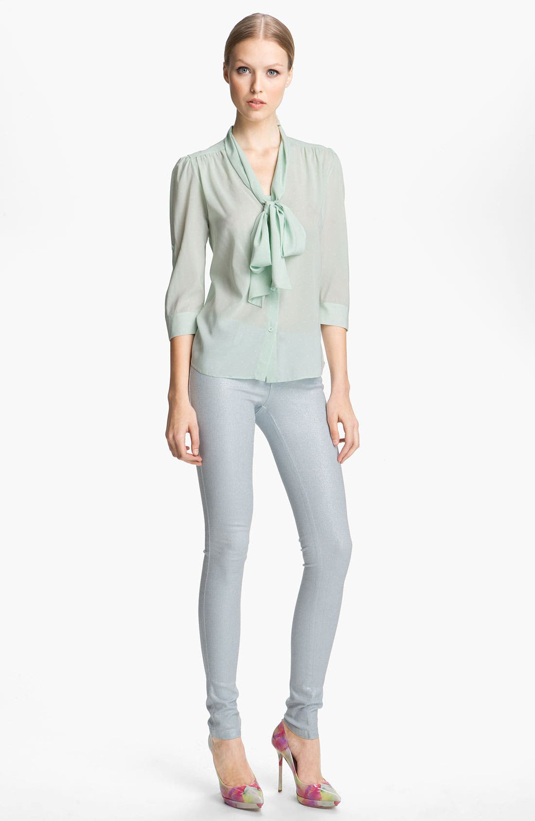 Alternate Image 1 Selected - Alice + Olivia Tie Neck Blouse