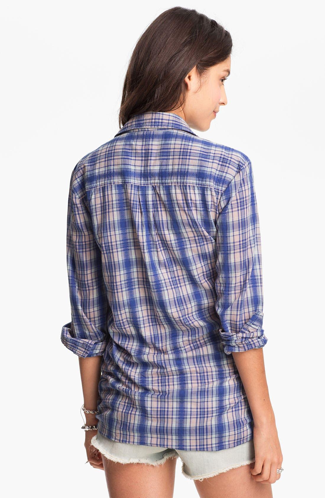 Alternate Image 2  - Rubbish Oversized Plaid Shirt (Juniors)