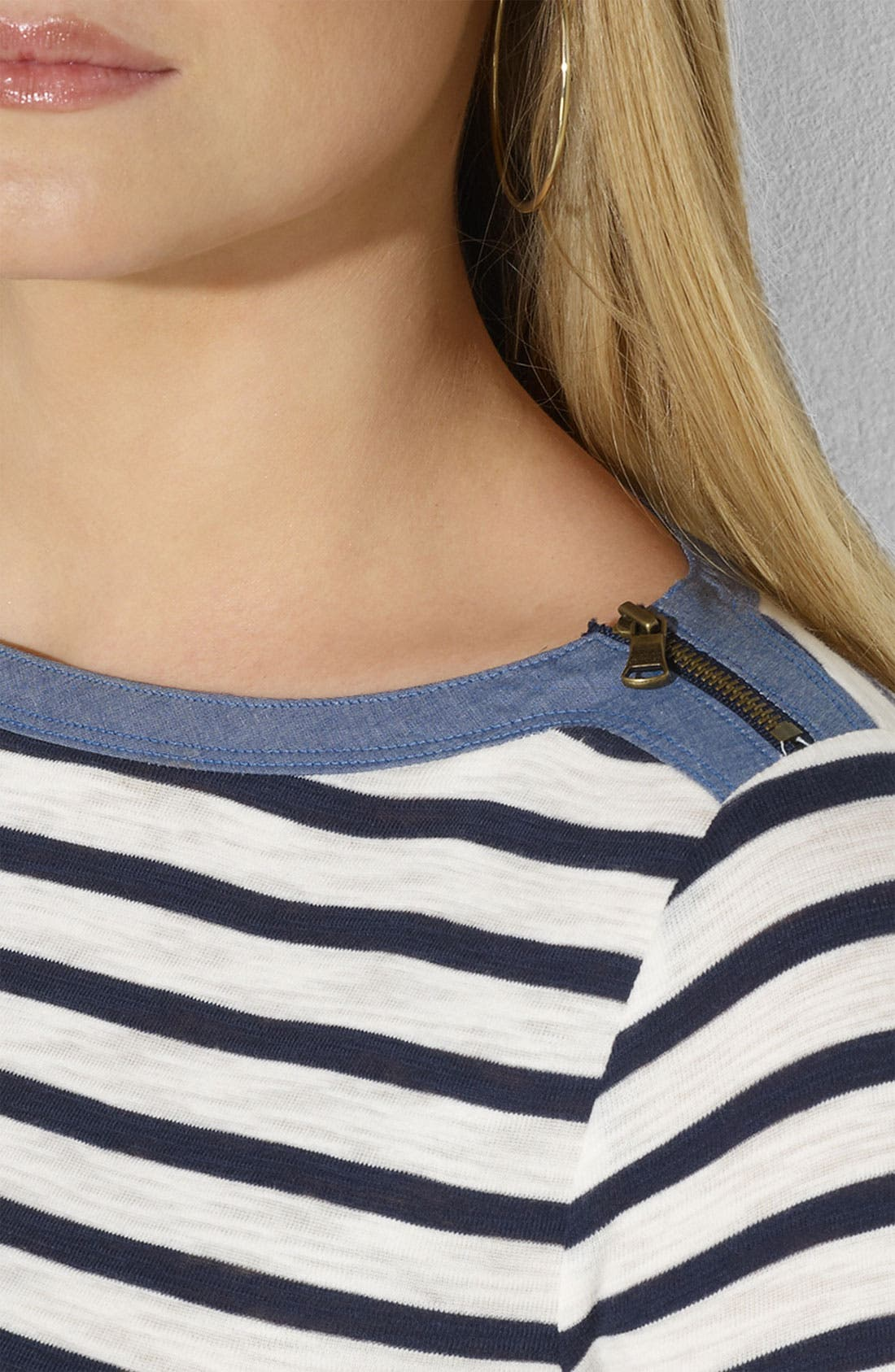 Alternate Image 3  - Lauren Ralph Lauren Zip Shoulder Stripe Tee (Plus)