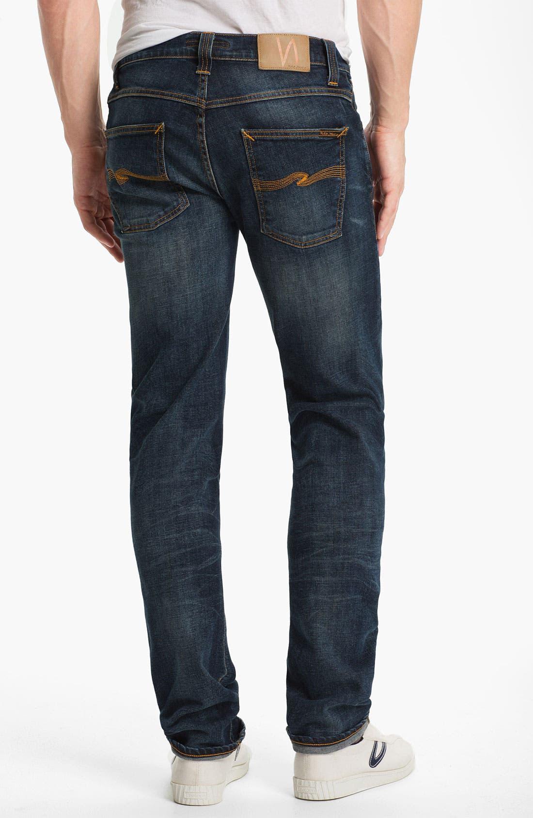 Alternate Image 1 Selected - Nudie 'Grim Tim' Skinny Straight Leg Jeans (Organic Crushed Denim)