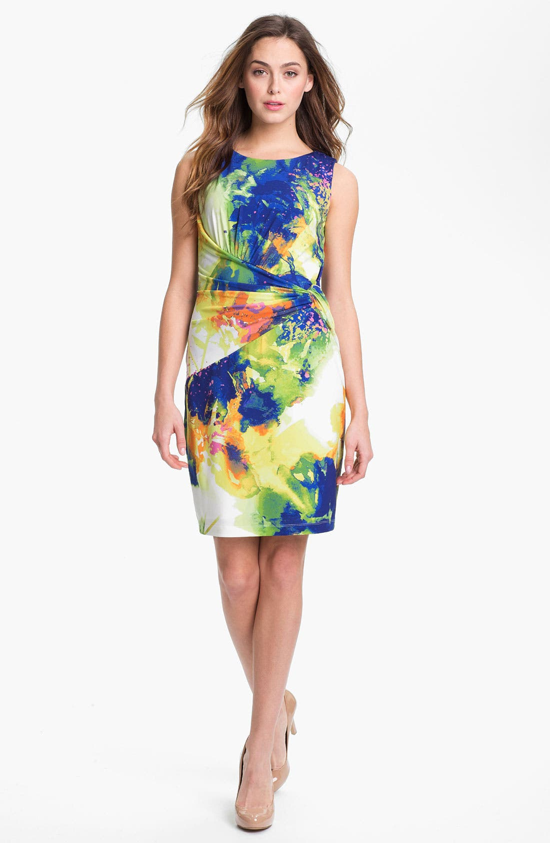 Alternate Image 1 Selected - Suzi Chin for Maggy Boutique Front Twist Print Sheath Dress