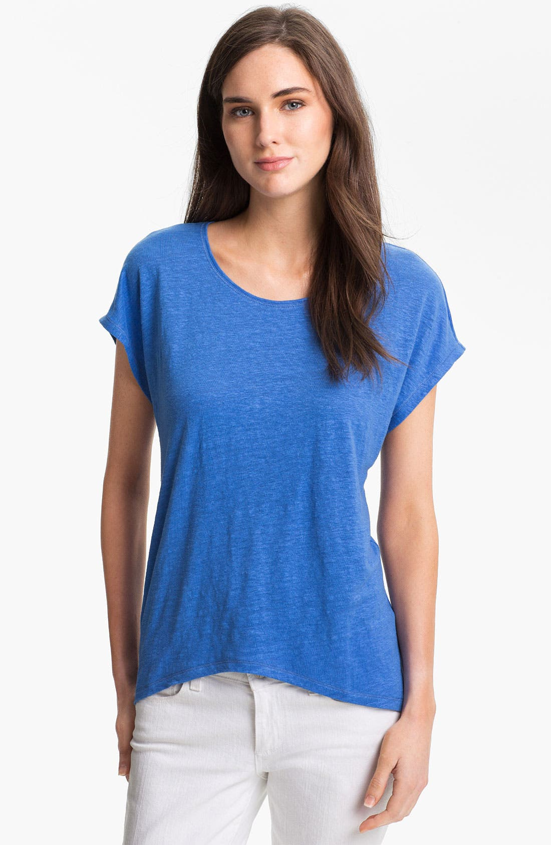 Alternate Image 1 Selected - Eileen Fisher Cap Sleeve Linen Tee (Petite)
