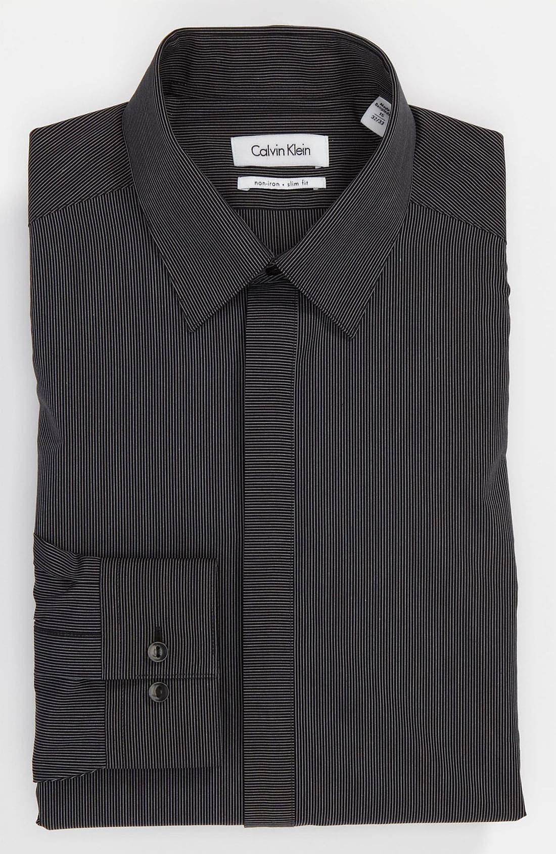 Main Image - Calvin Klein 'Como Stripe' Slim Fit Dress Shirt