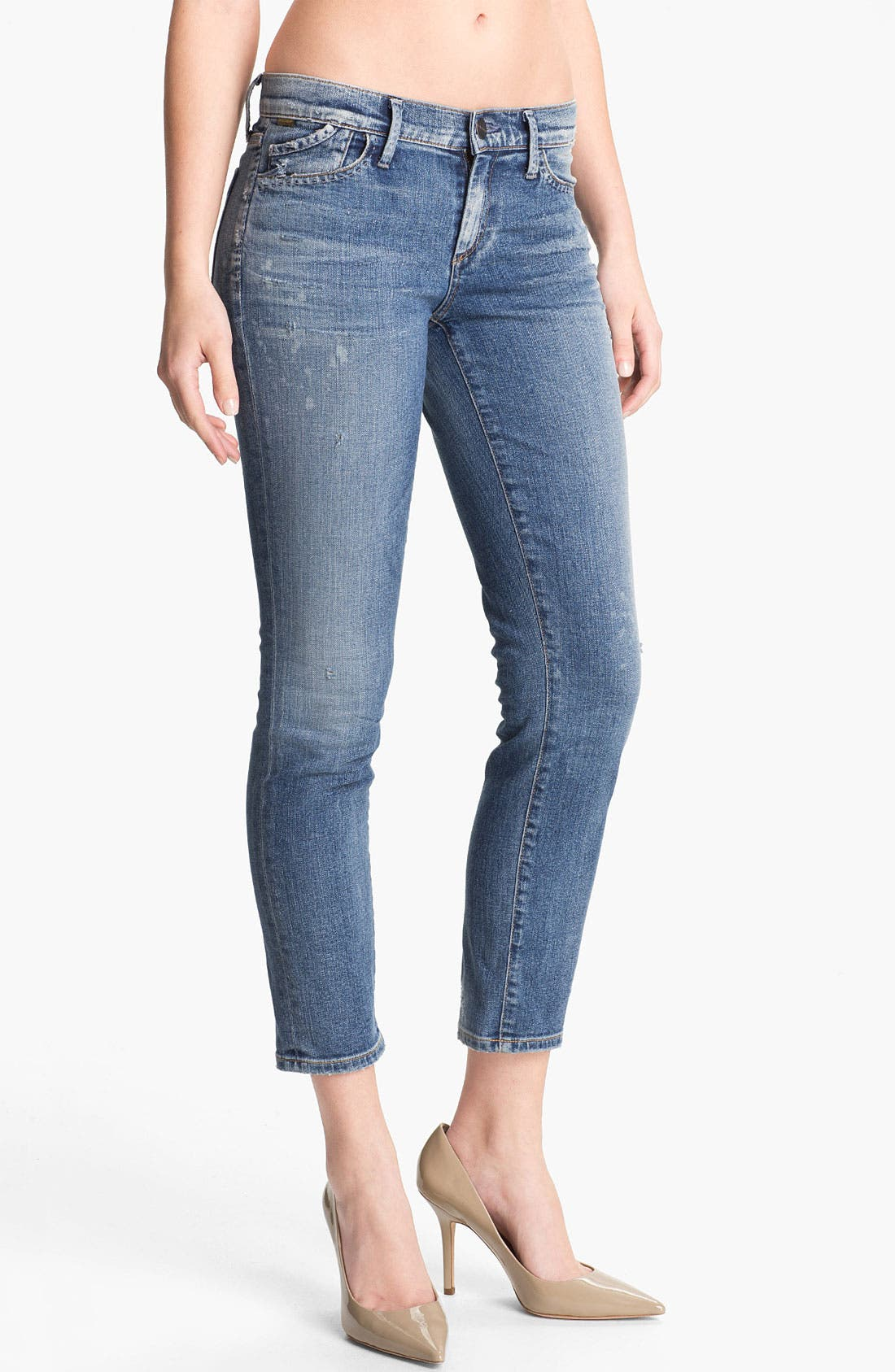 Main Image - Goldsign 'Frontier' Crop Skinny Stretch Jeans (Ruby)