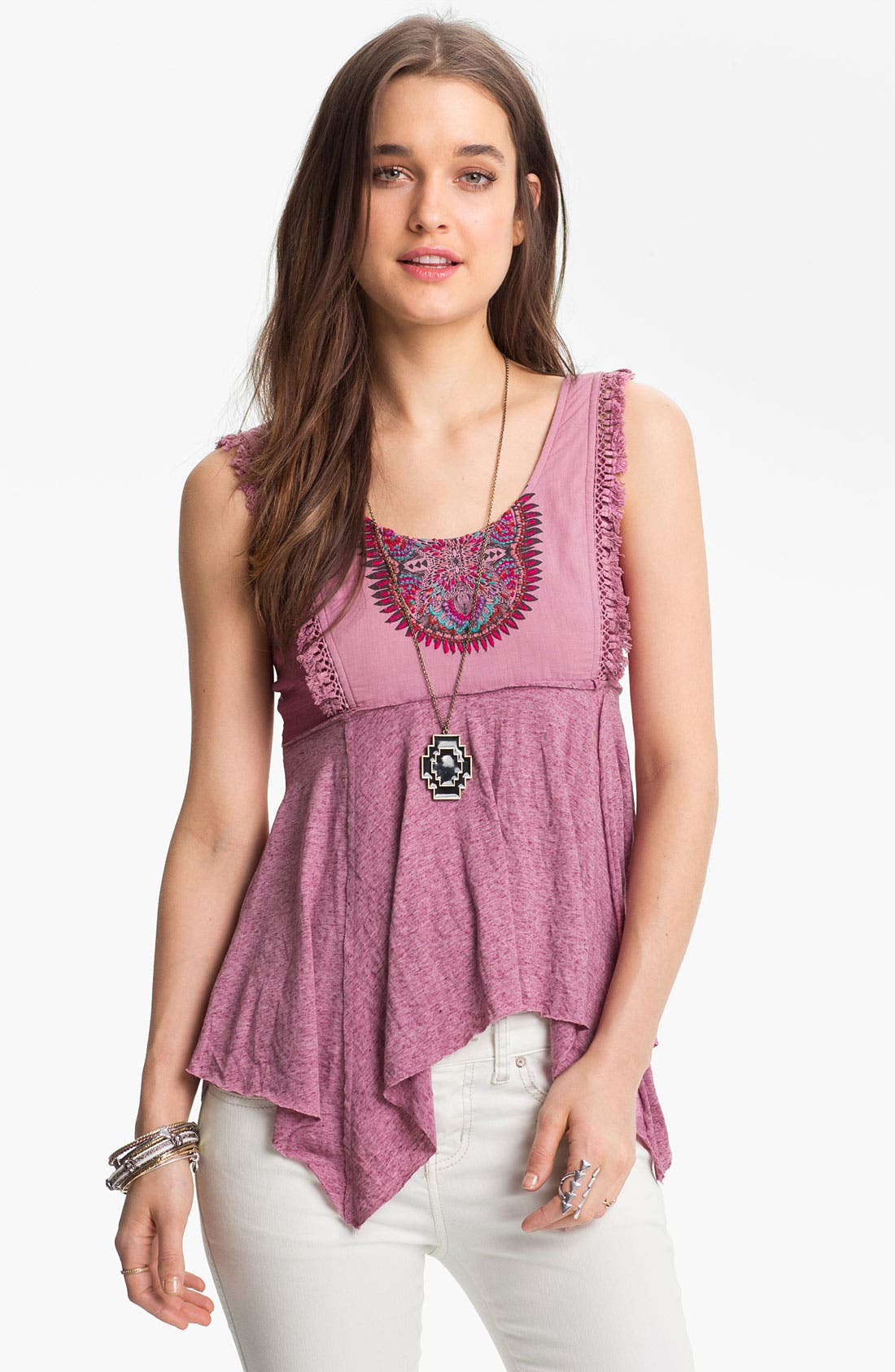 Alternate Image 1 Selected - Free People Embroidered Bib Handkerchief Tank