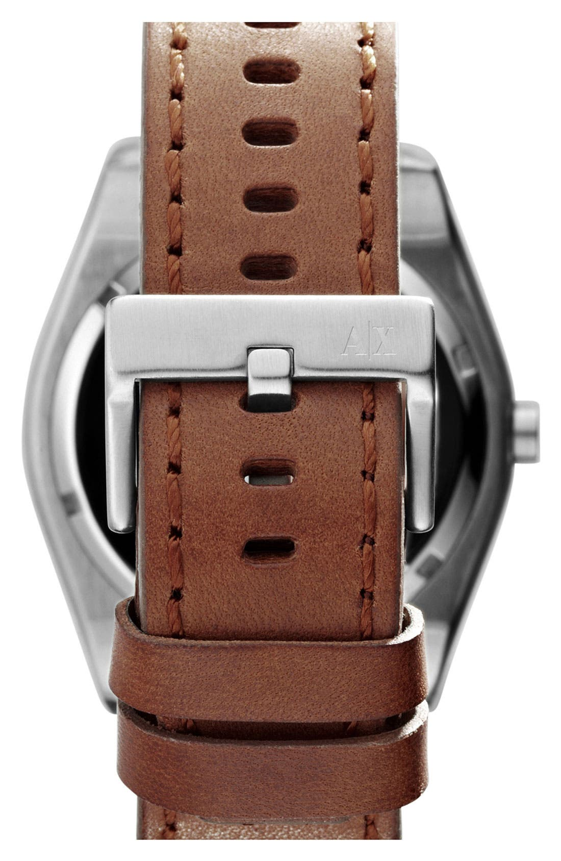 Alternate Image 3  - AX Armani Exchange Round Leather Strap Watch, 45mm