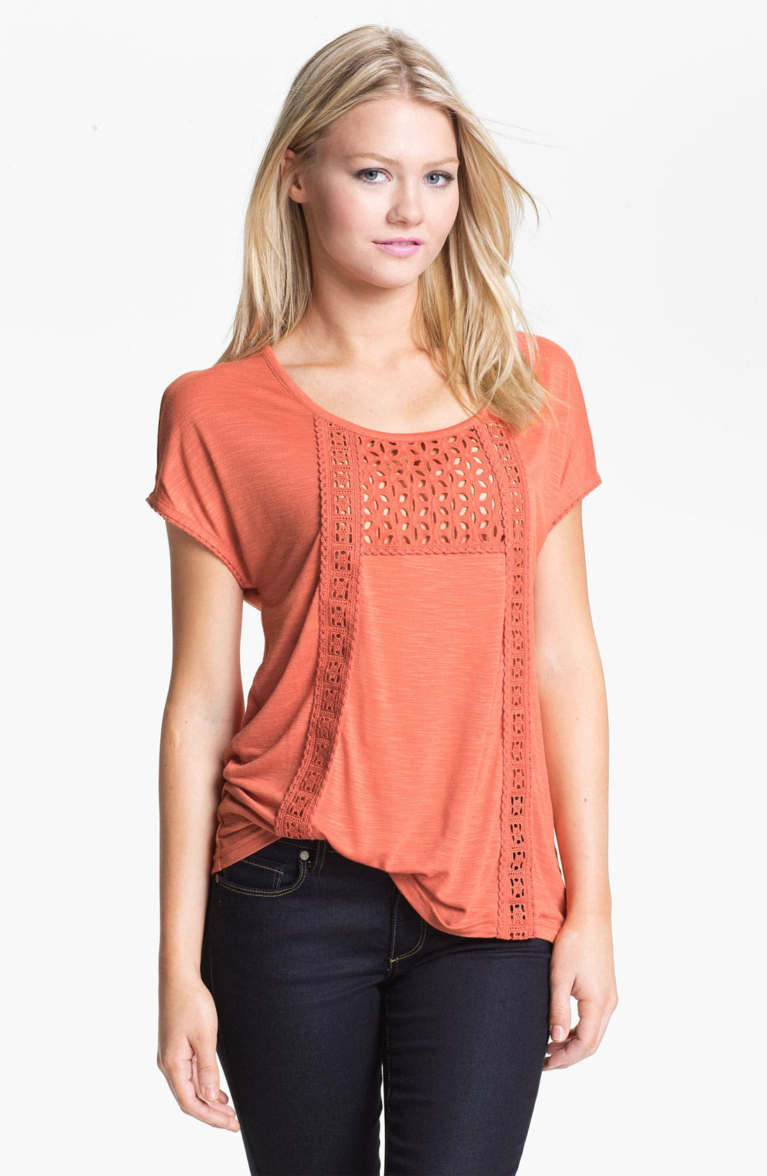 Alternate Image 1 Selected - Hinge Eyelet & Crochet Trim Peasant Tee