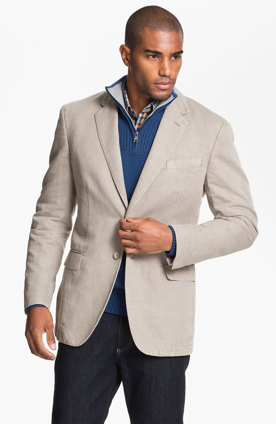 Main Image - Canali Washed Cotton & Linen Sportcoat