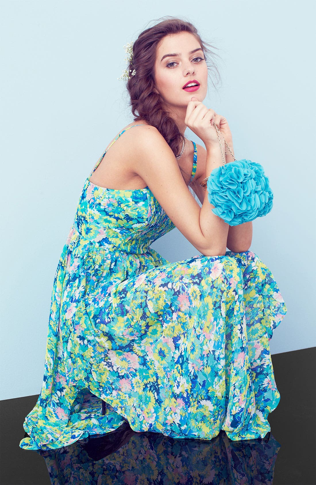 Alternate Image 5  - En Crème Pleated Bustier Floral Chiffon Dress (Juniors)