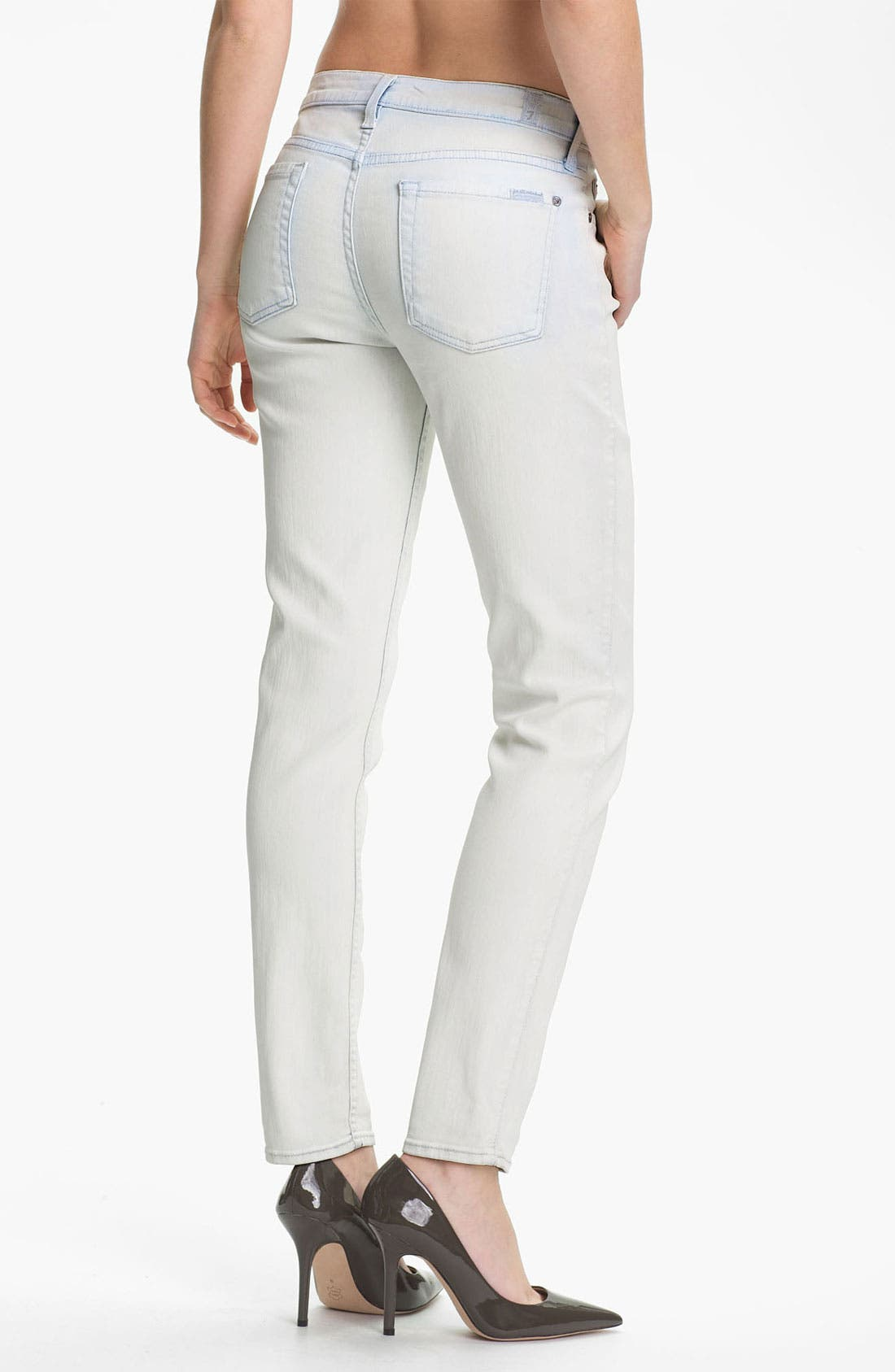 Alternate Image 2  - 7 For All Mankind® 'The Slim Cigarette' Coated Stretch Jeans (White Washed Denim)